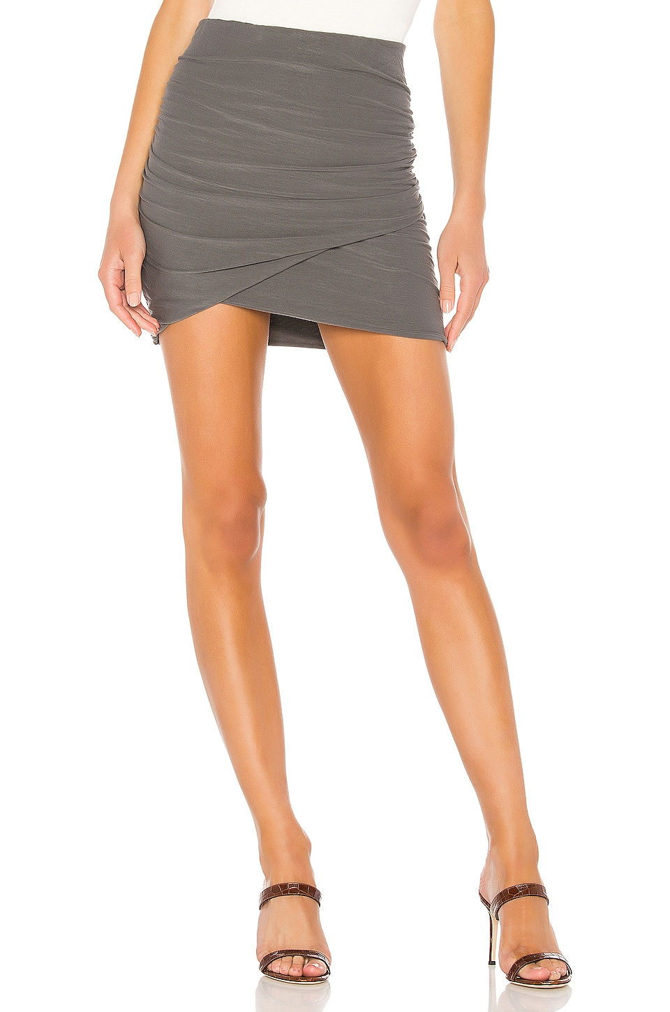 James Perse Wrap Mini Skirt in Charcoal