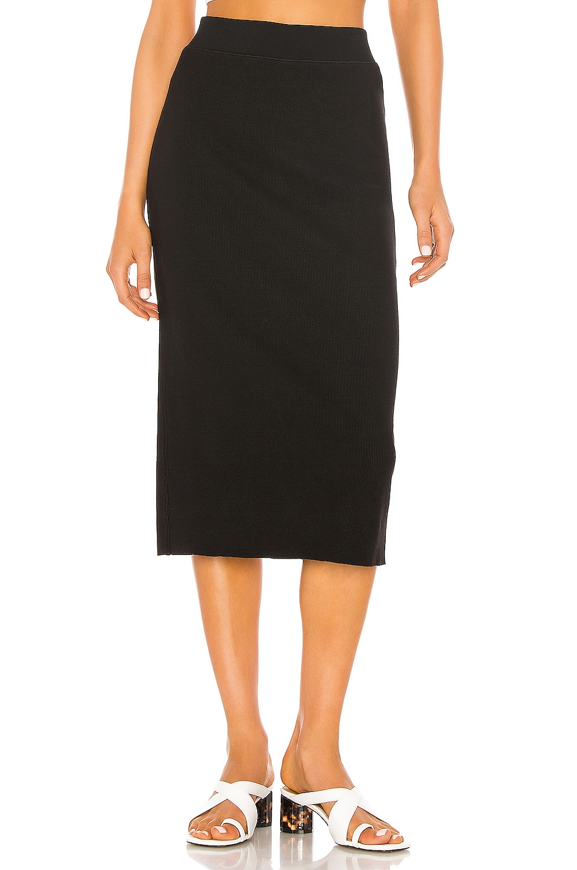 James Perse Midi Rib Skirt in Black