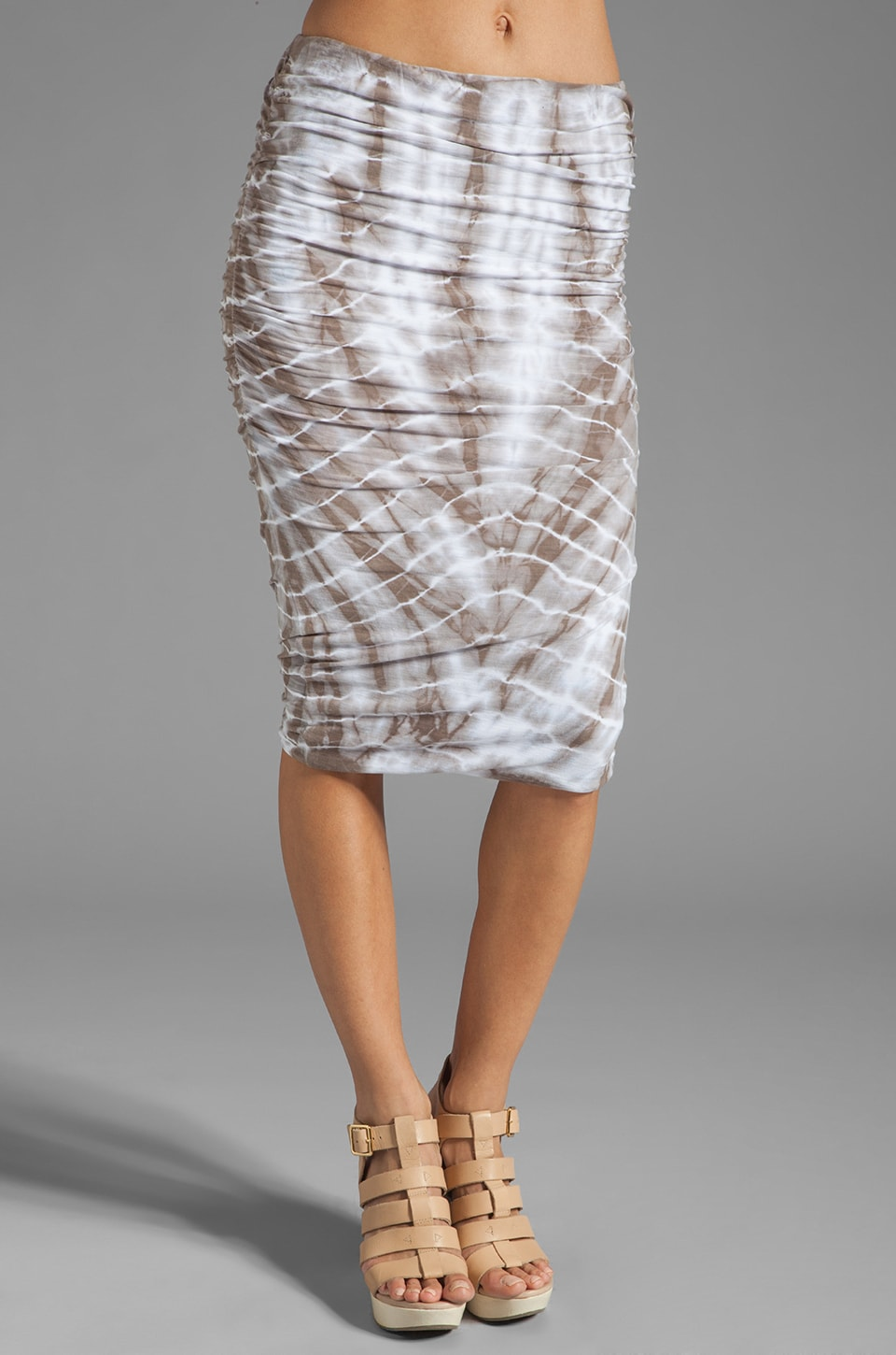 James Perse Tie Dye Ruched Pencil Skirt in Burro
