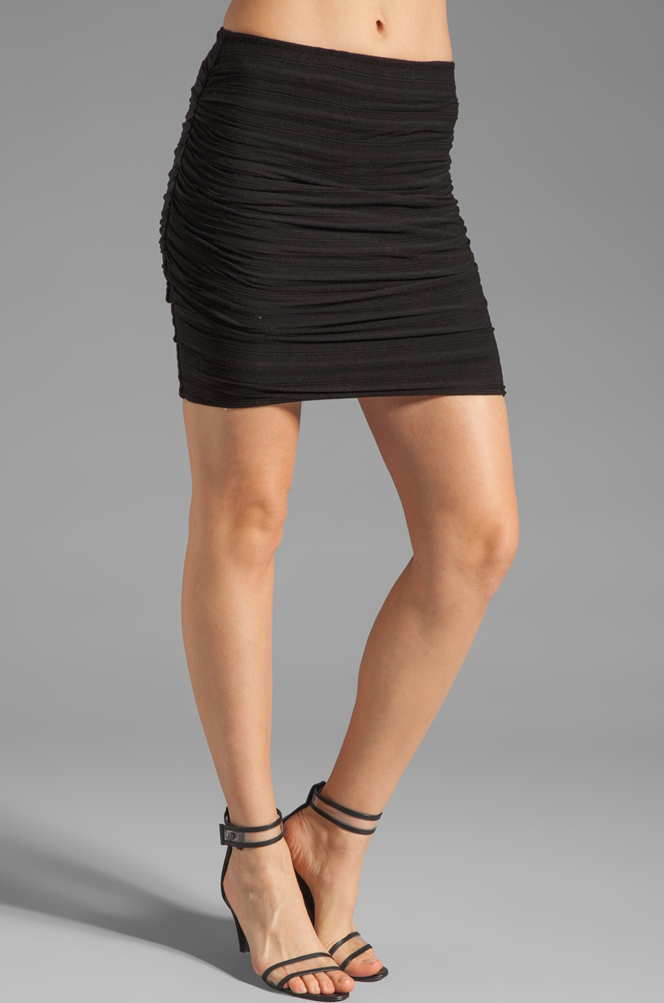 James Perse Shadow Stripe Mini Skirt in Black