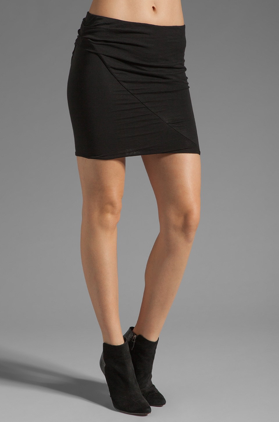 James Perse Asymmetrical Tuck Skirt in Black