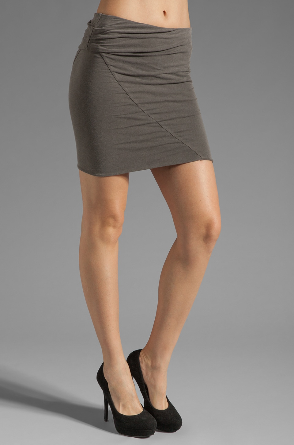 James Perse Asymmetrical Tuck Skirt in Burro