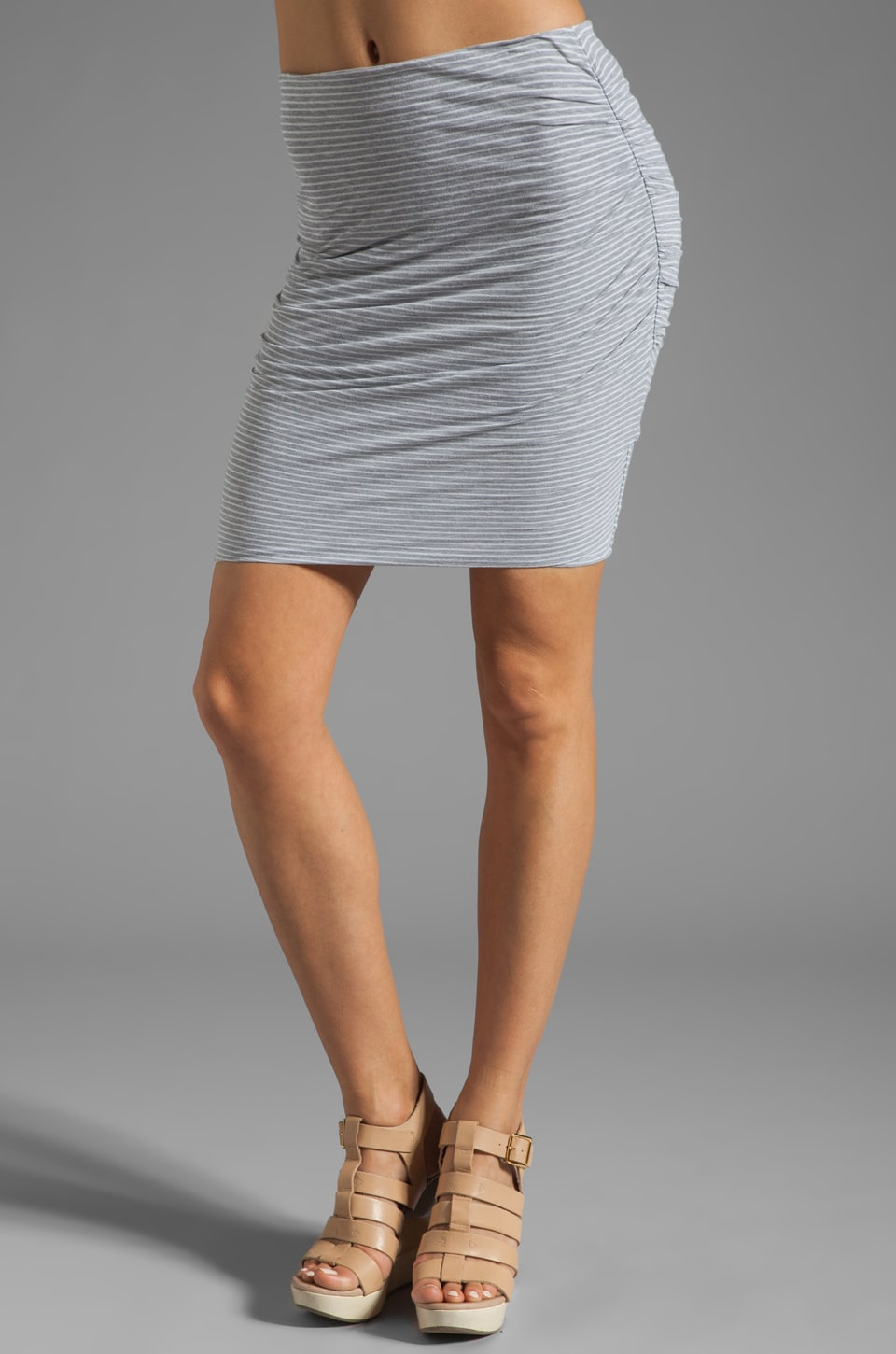 James Perse Split Back Stripe Skirt in Heather Grey/White