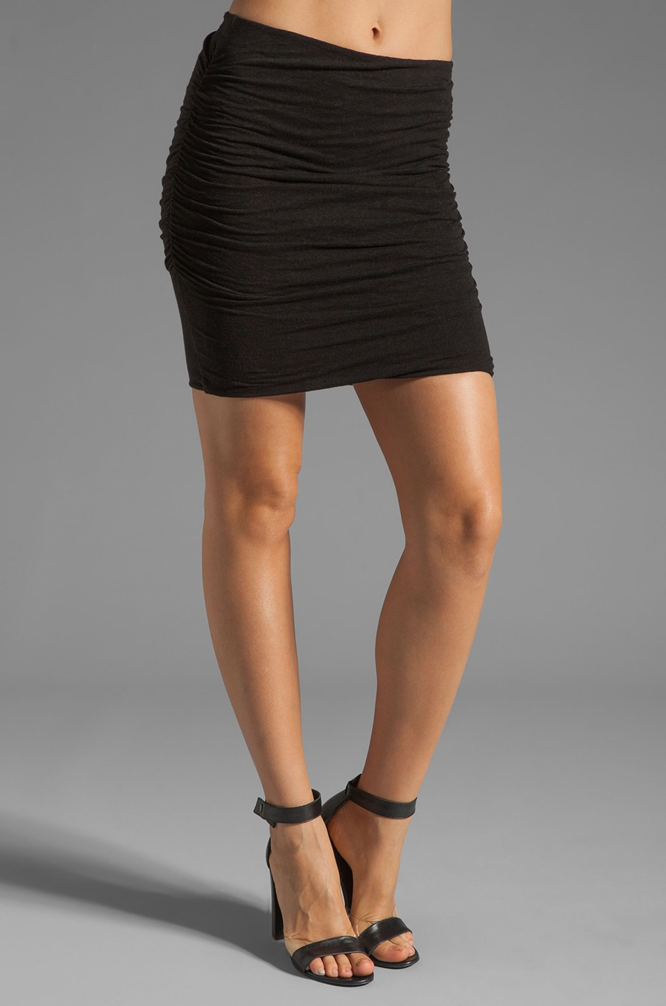 James Perse Linen Blend Ruched Mini Skirt in Black