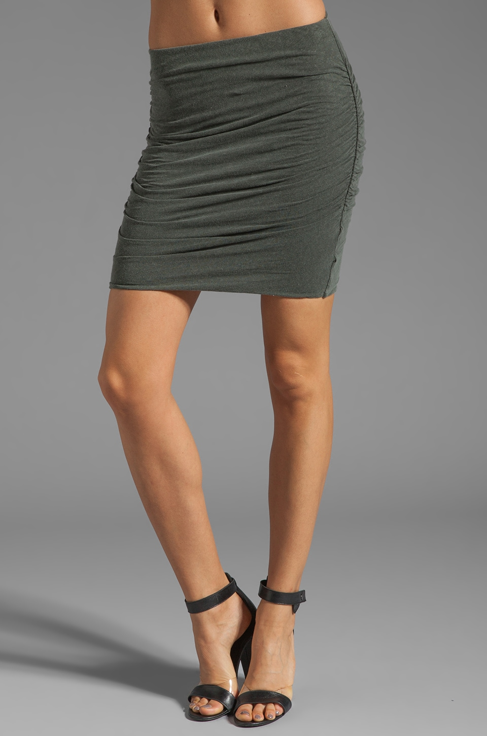 James Perse Linen Blend Ruched Mini Skirt in Alligator