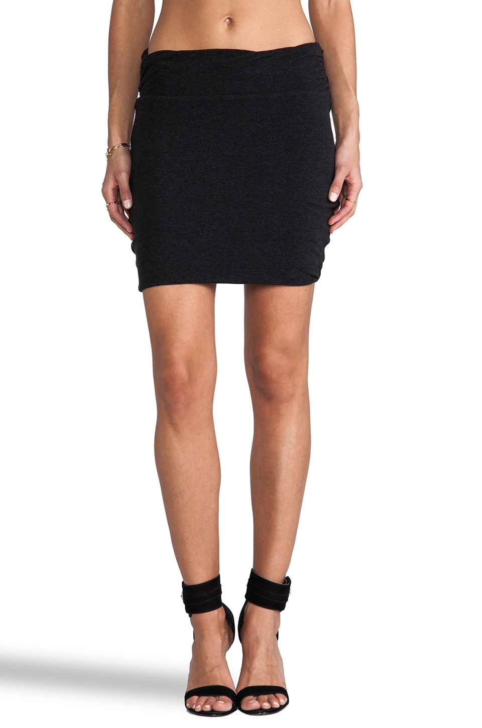 James Perse Wrap Waist Mini Skirt in Black Melange