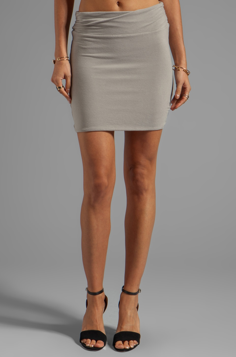 James Perse Wrap Waist Mini Skirt in Shadow Melange