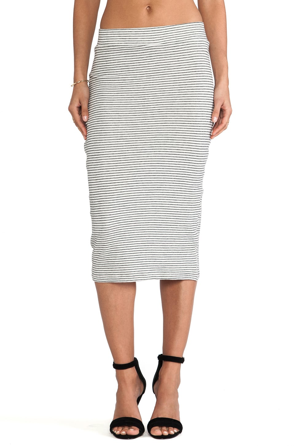 James Perse Stripe Skirt in Heather Grey
