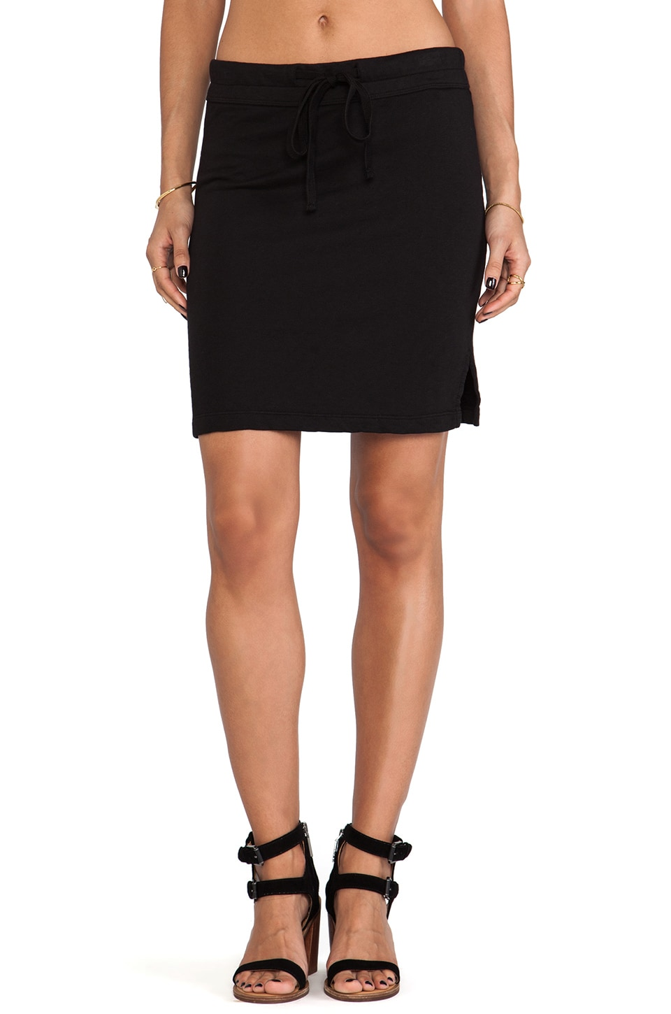 James Perse Drawstring Vintage Cotton Skirt in Black
