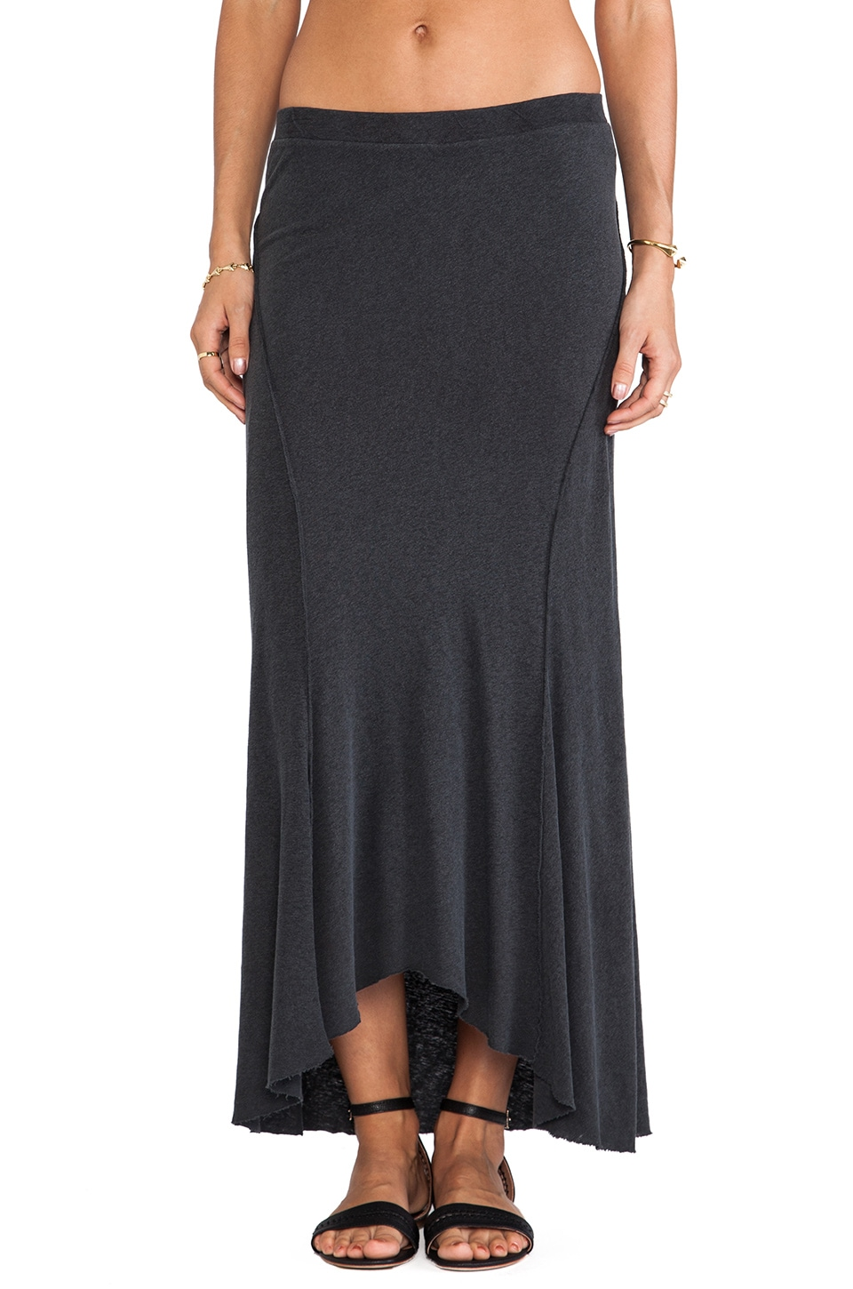 James Perse Inside Out Ellipse Skirt in Carbon