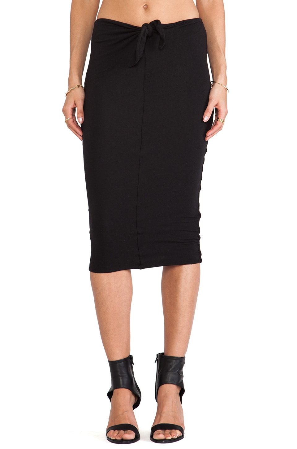 James Perse Tie Front Skirt in Black