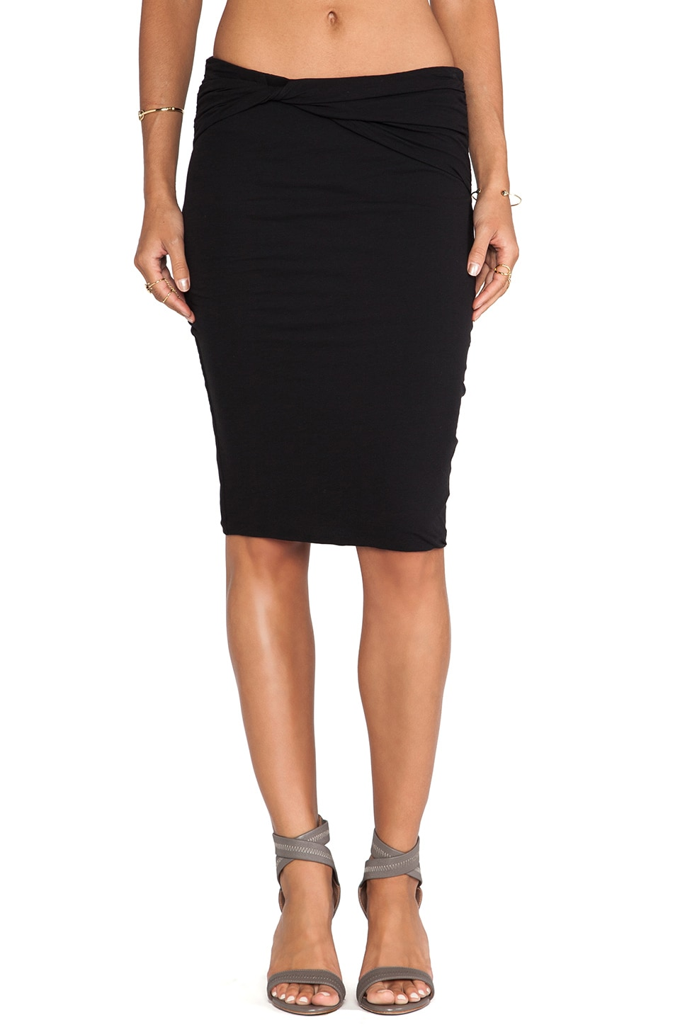 James Perse High Gauge Jersey Twisted Skirt in Black