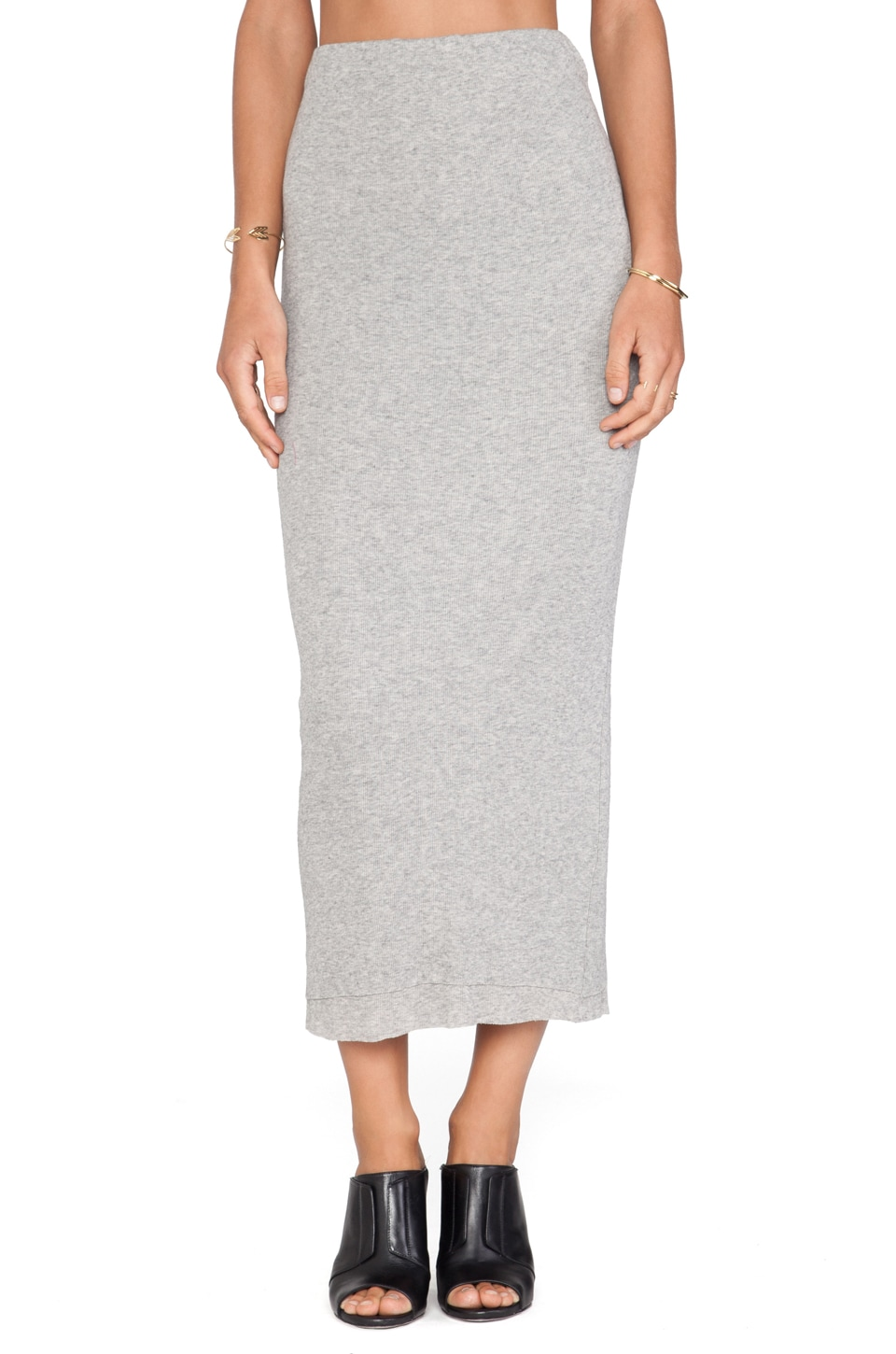 James Perse Long Cashmere Rib Skirt in Heather Grey