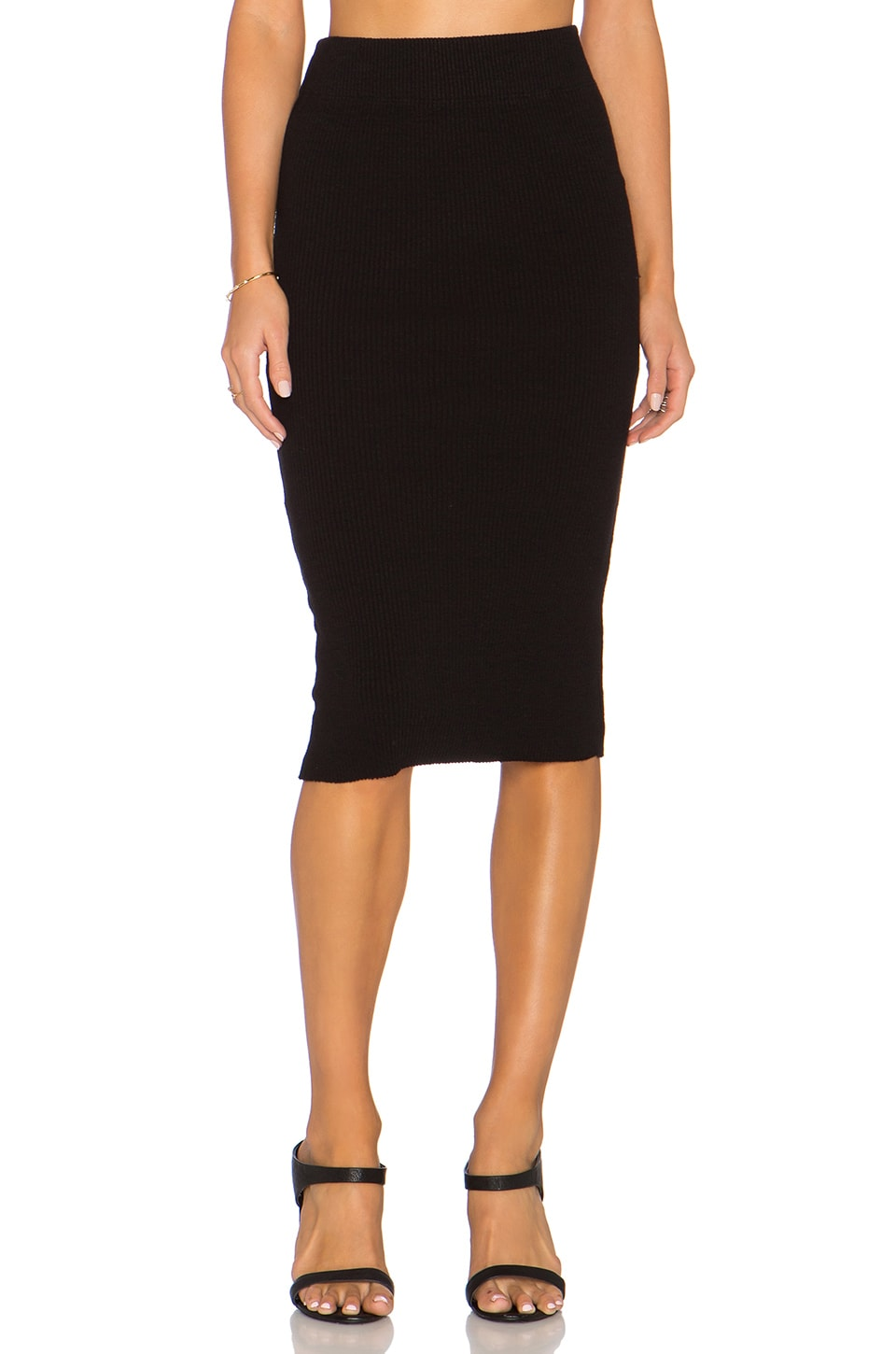 James Perse Heavy Rib Skinny Skirt in Black | REVOLVE