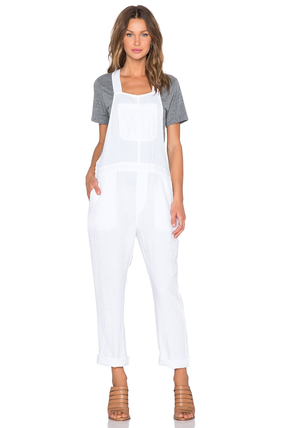 James Perse Linen Overalls in White