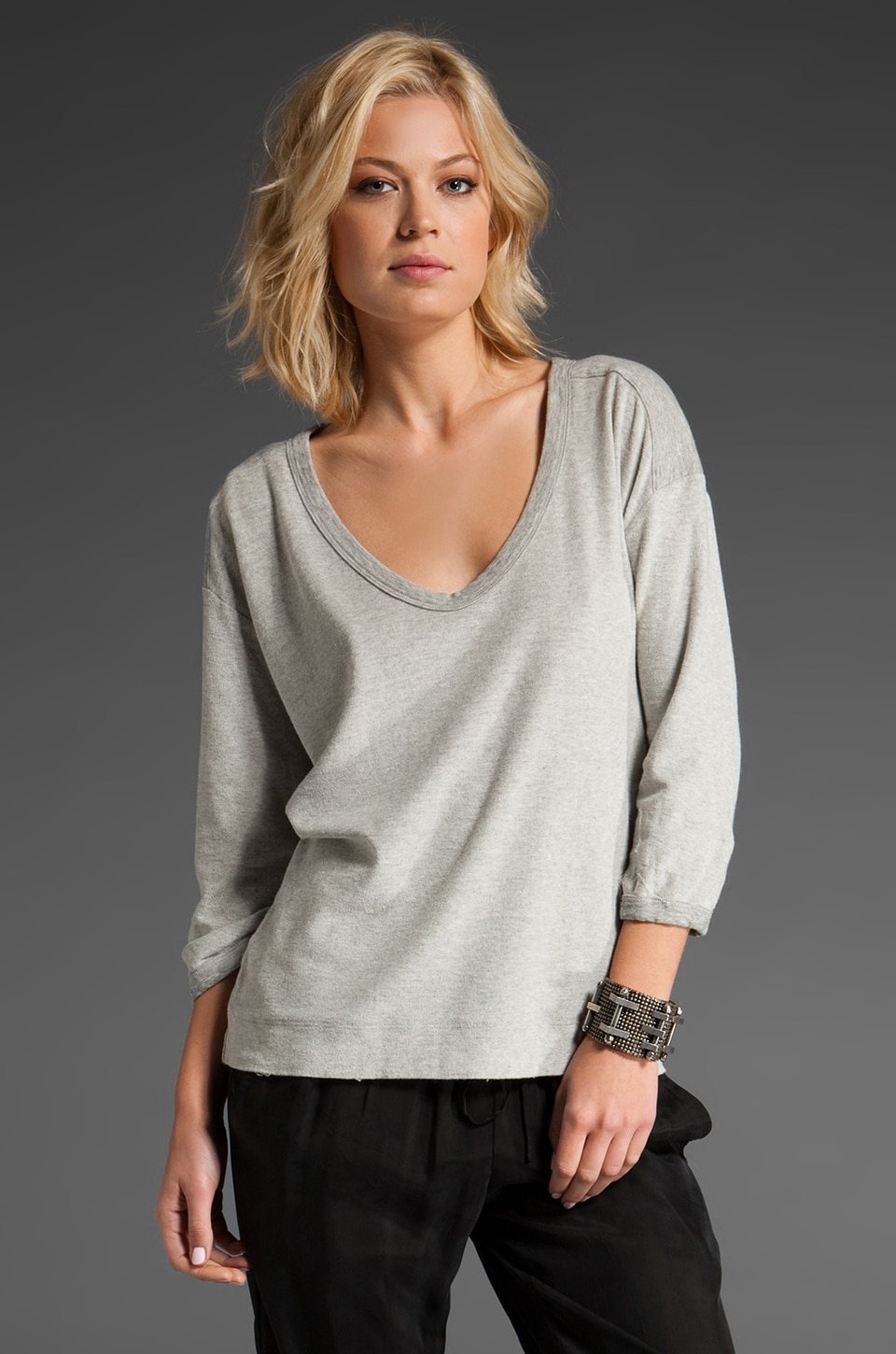 James Perse Scoop Sweatshirt Top in Heather Grey