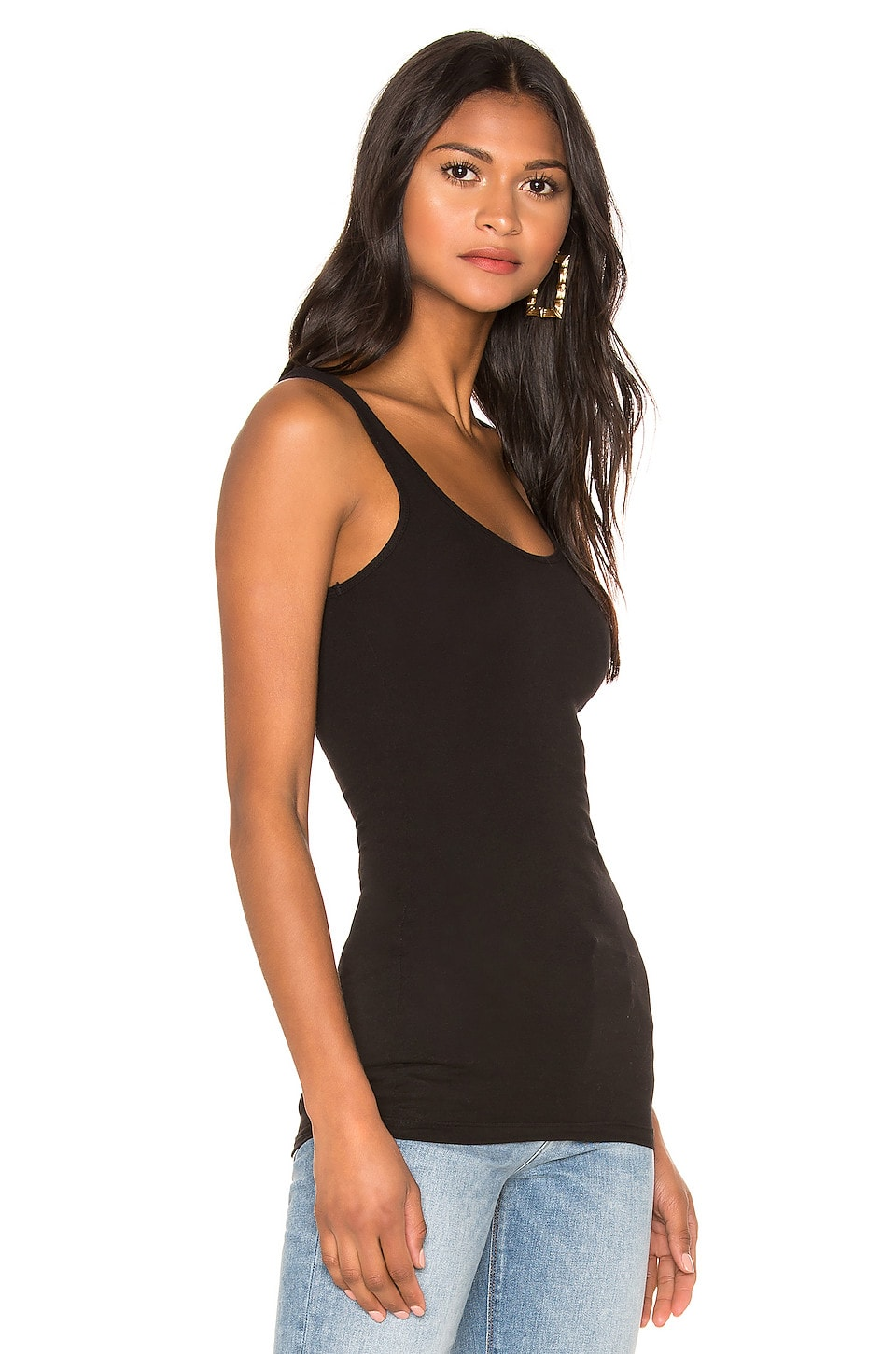 James Perse Classic Brushed Long Tank in Black