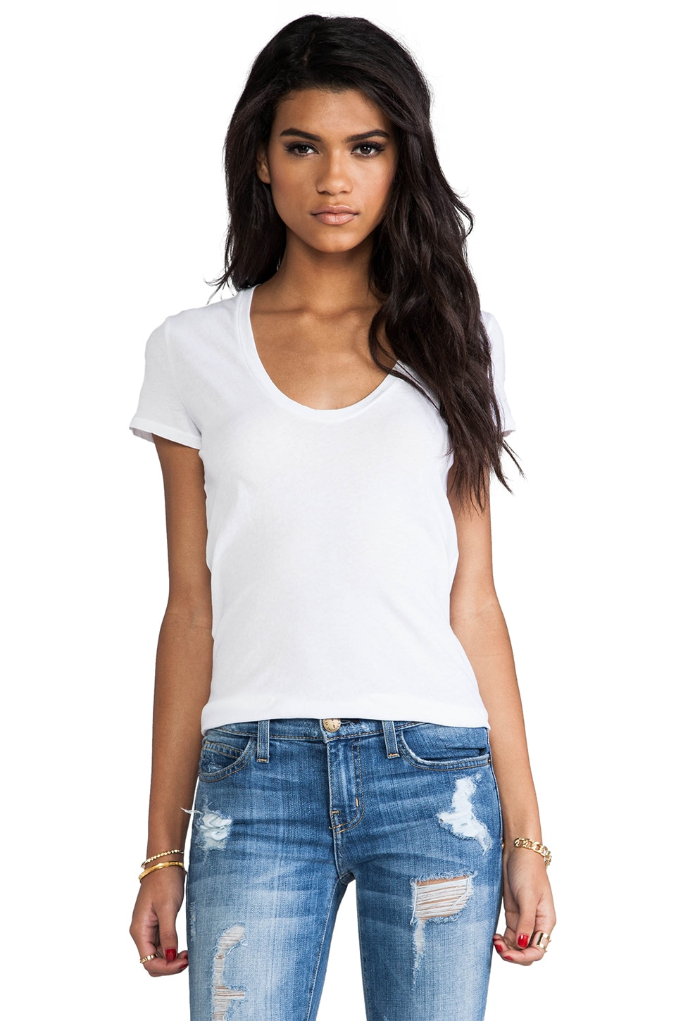 James Perse Classic Relaxed Casual Scoop Tee in White