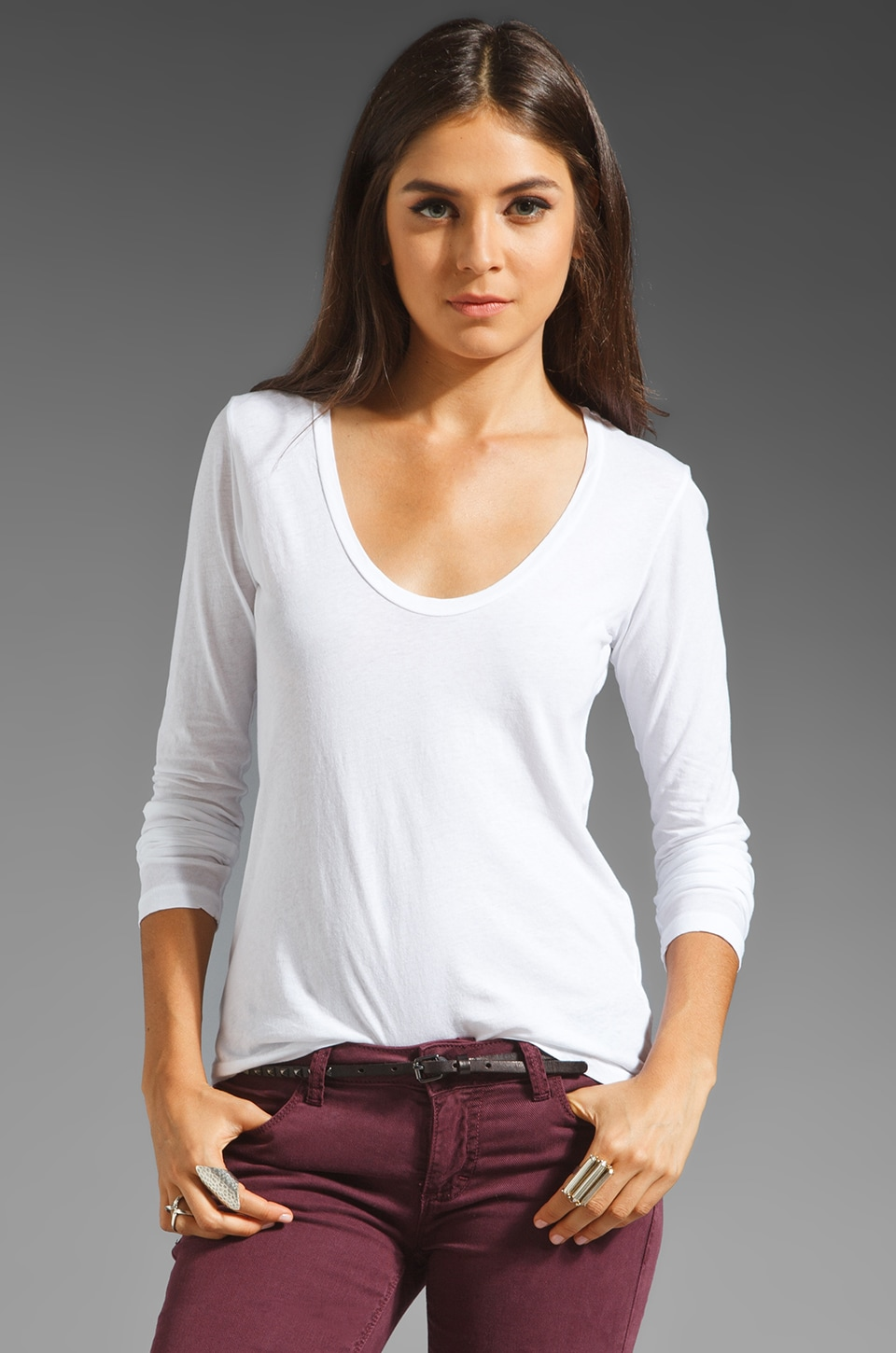 James Perse Long Sleeve Casual Tee in White