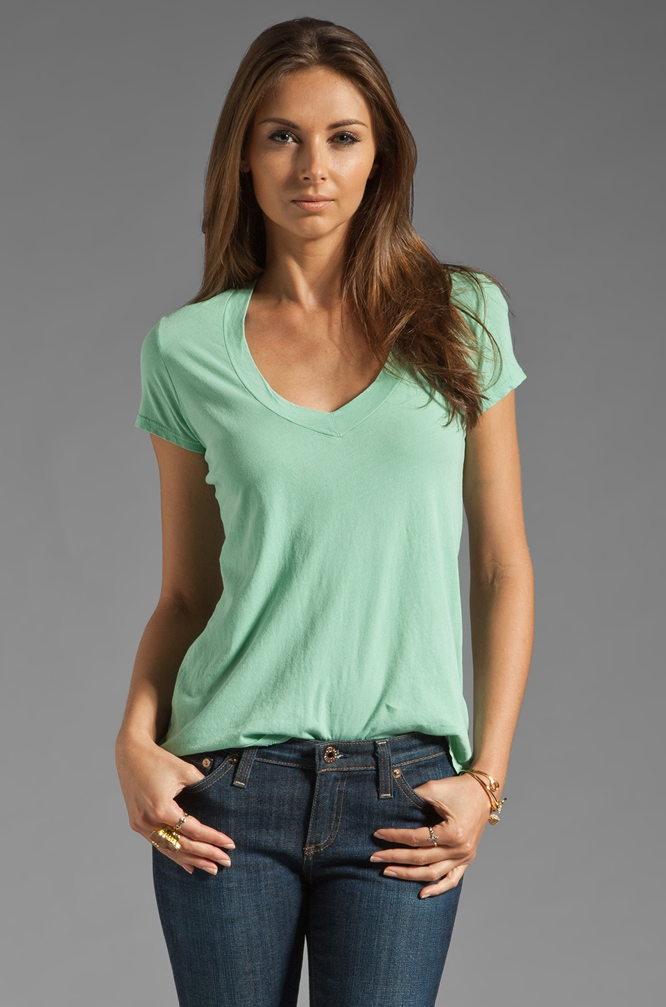 James Perse Short Sleeve Casual V Neck Tee in Spearmint