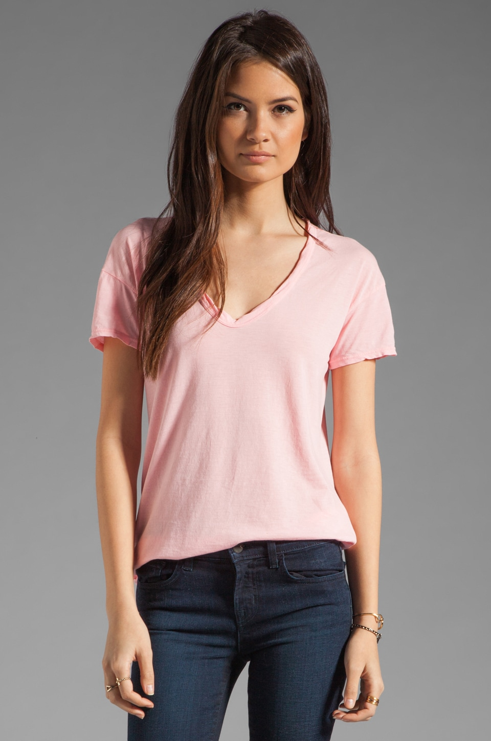 James Perse Relaxed Fit Soft V Short Sleeve Tee in Peony