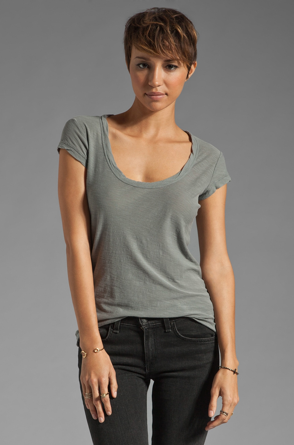 James Perse Cap Sleeve Casual Tee in Silverfox