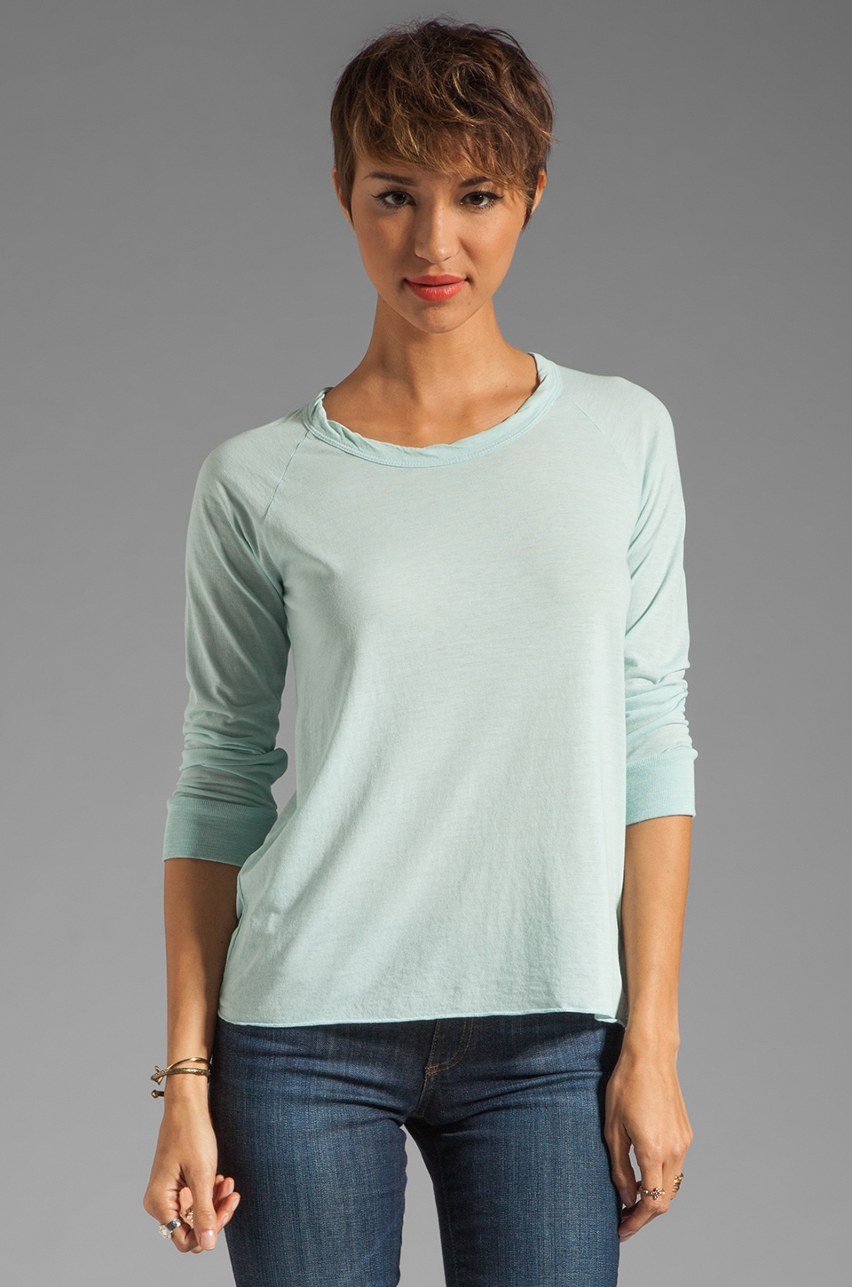 James Perse Soft Baseball Tee in Ocean Spray