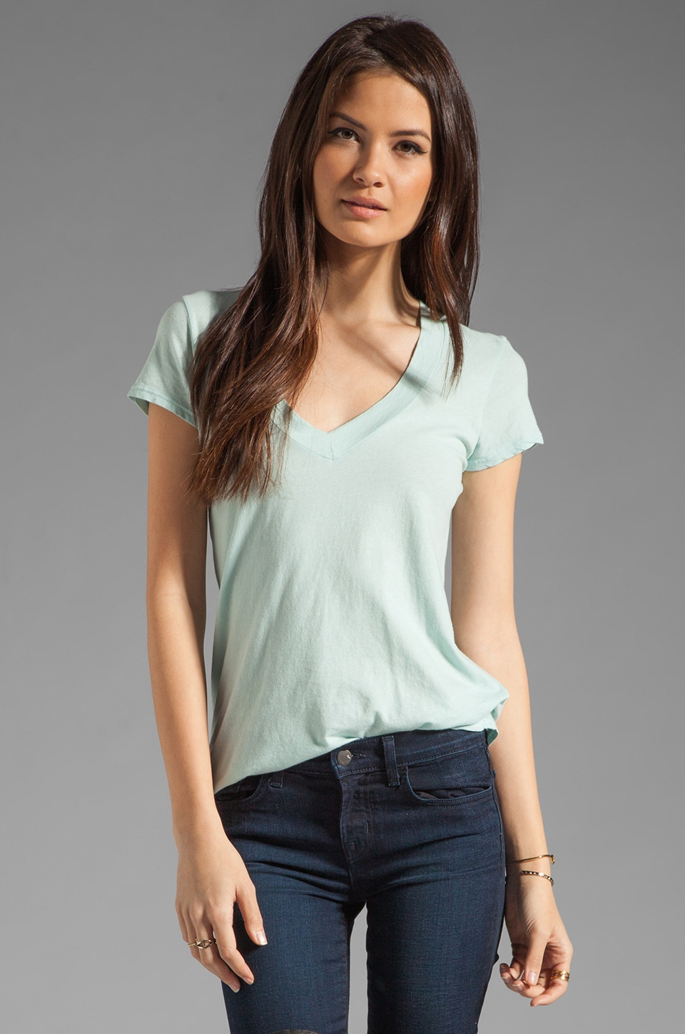 James Perse Short Sleeve Casual V Neck Tee in Ocean Spray