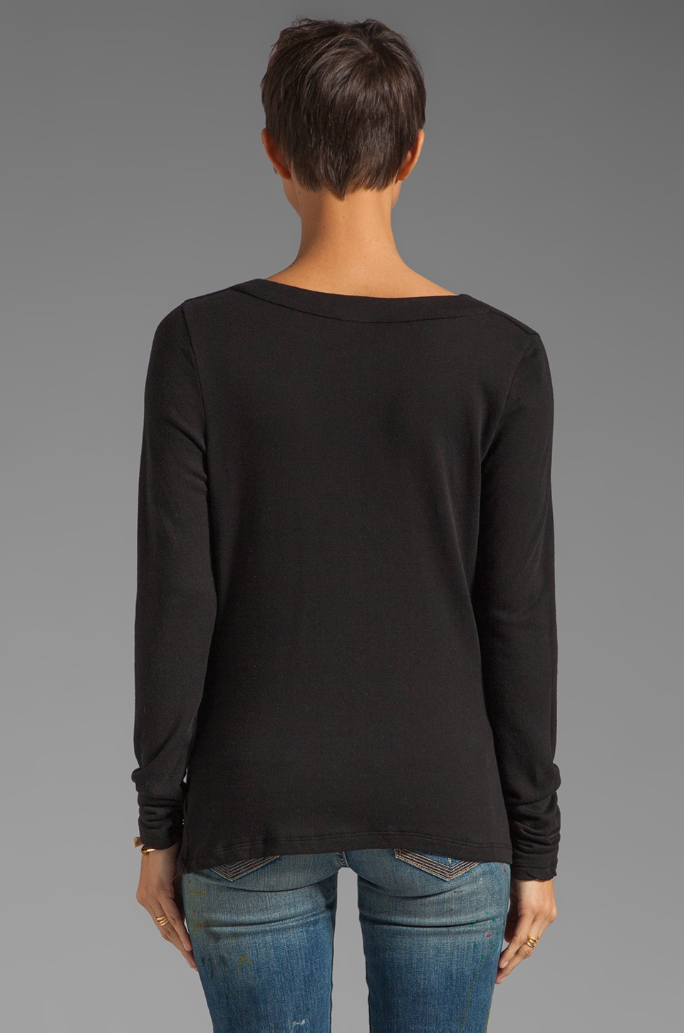 James Perse Lightweight Terry Cowl Neck Top in Black