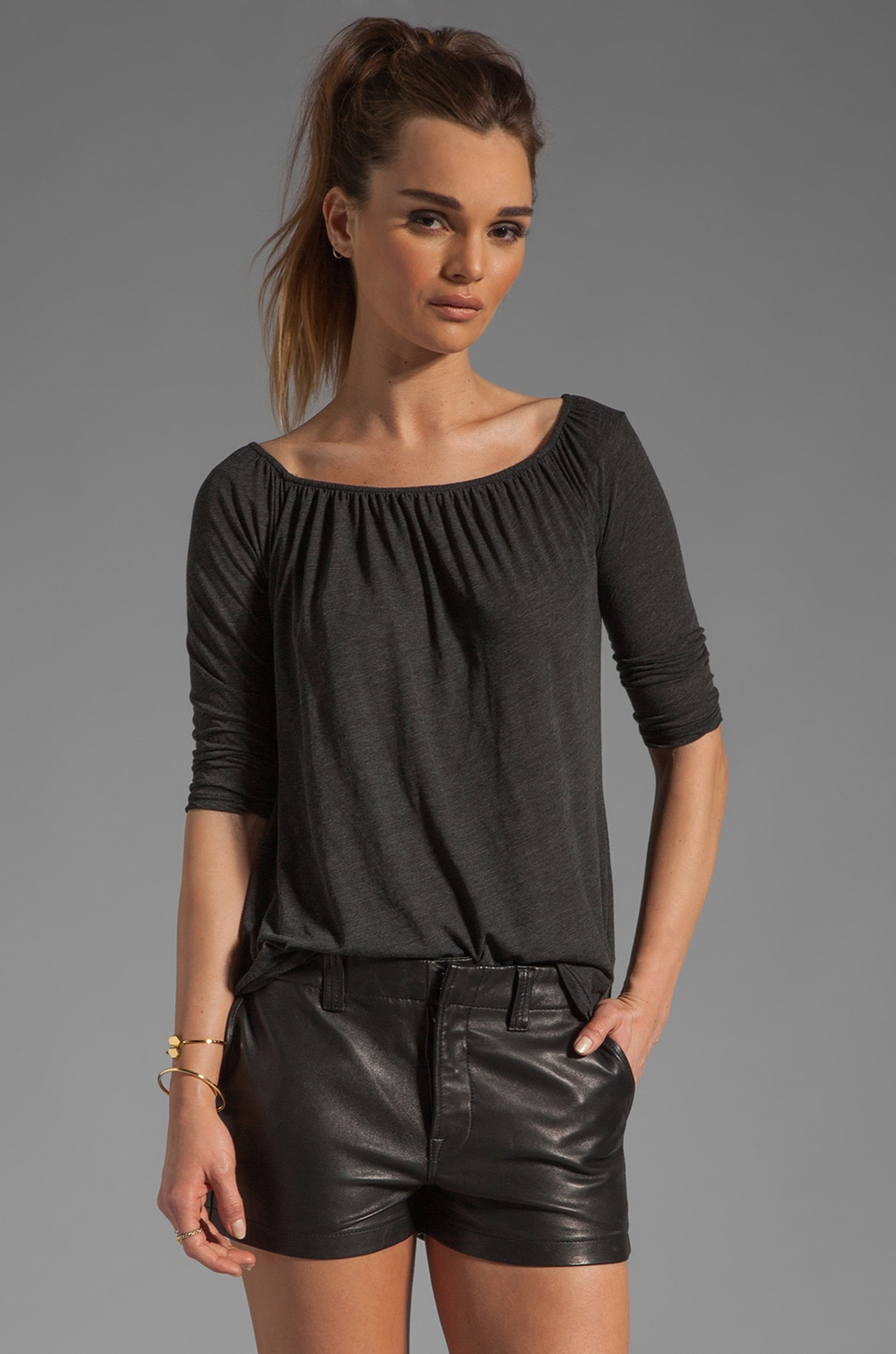 James Perse A Line Off the Shoulder Top in Black
