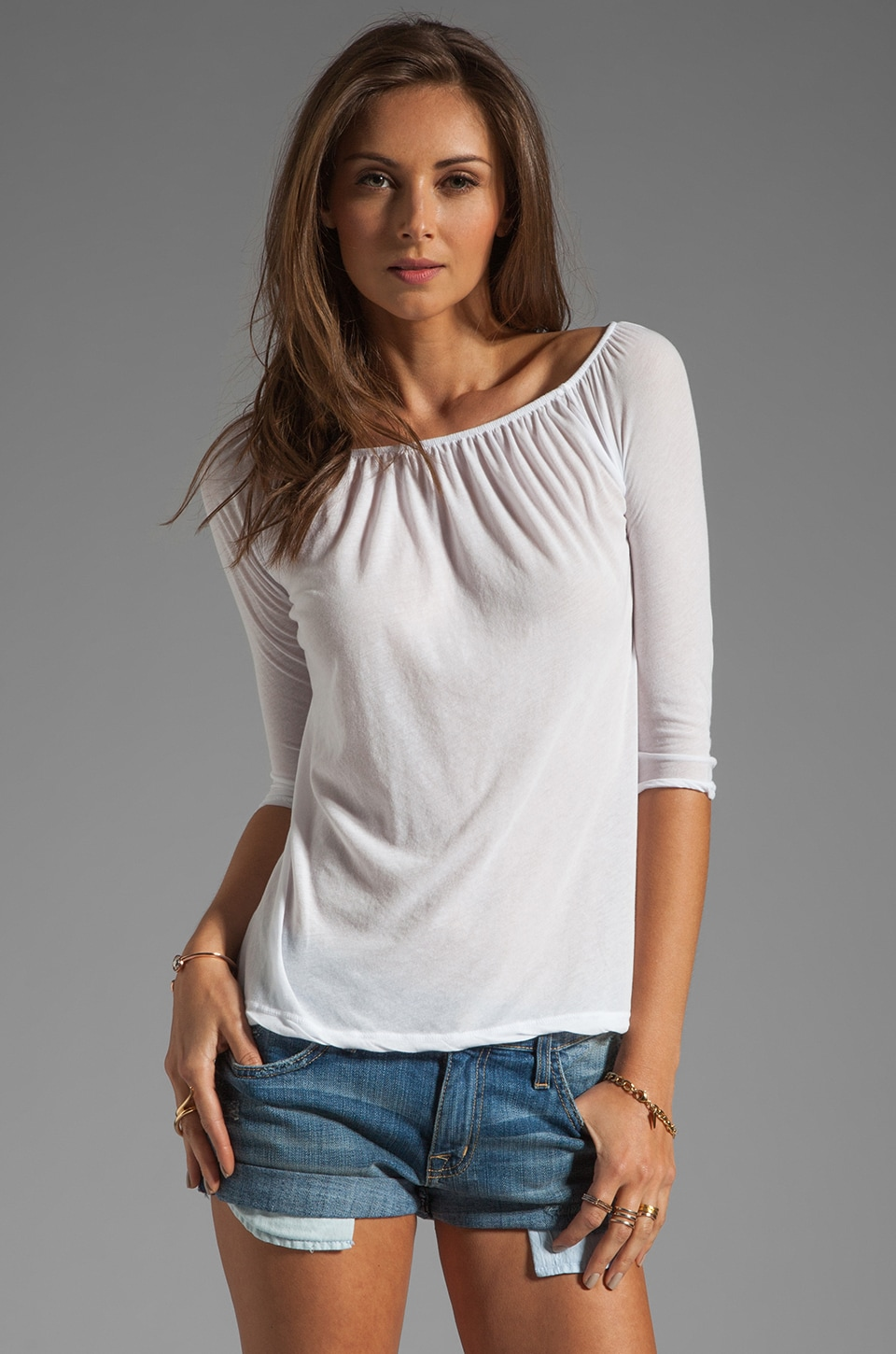 James Perse A Line Off the Shoulder Top in White