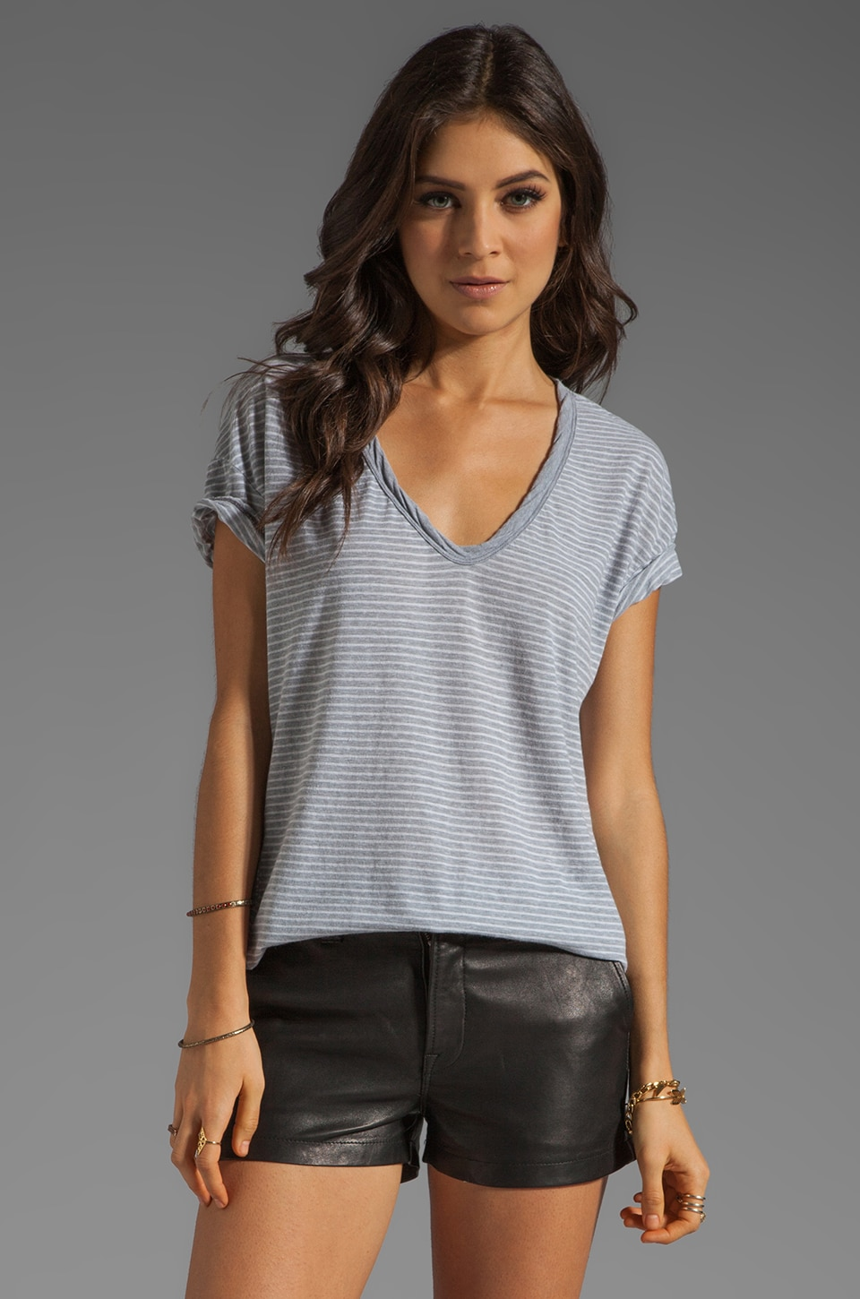James Perse Easy V Neck Stripe Tee in Heather Grey/White