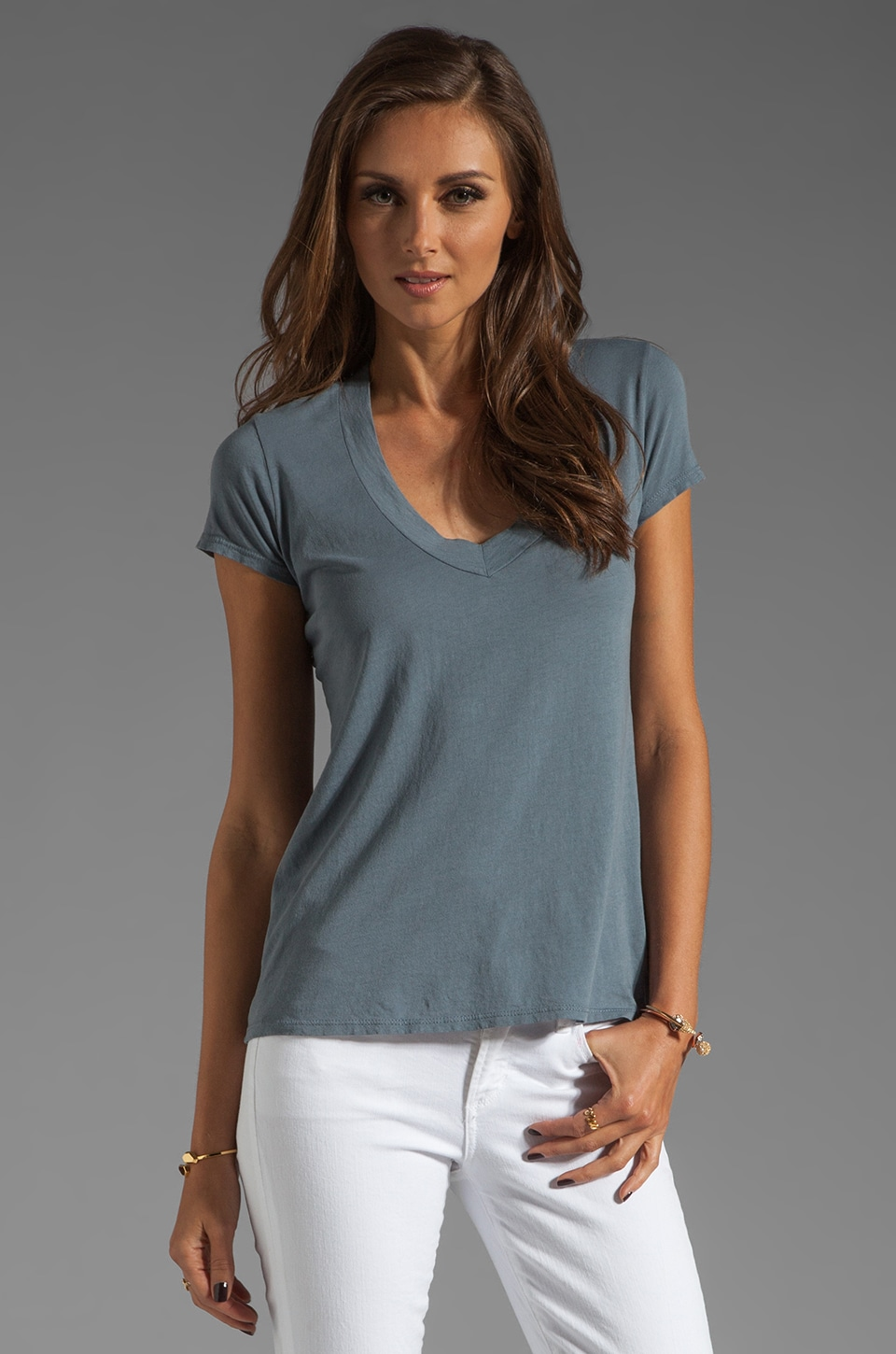 James Perse Short Sleeve Relaxed V Neck in Tempest