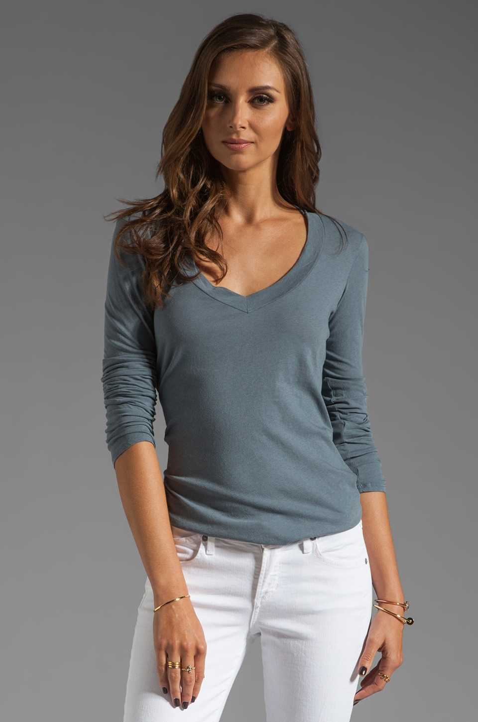 James Perse Long Sleeve Relaxed V Neck in Tempest