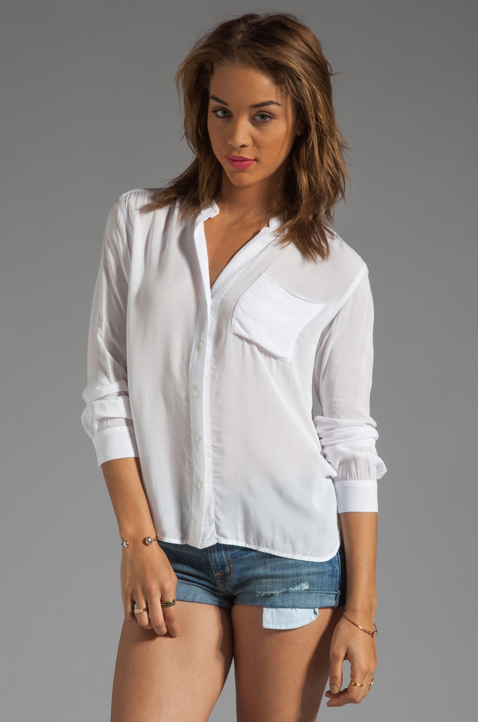 James Perse Collarless Pocket Shirt in White