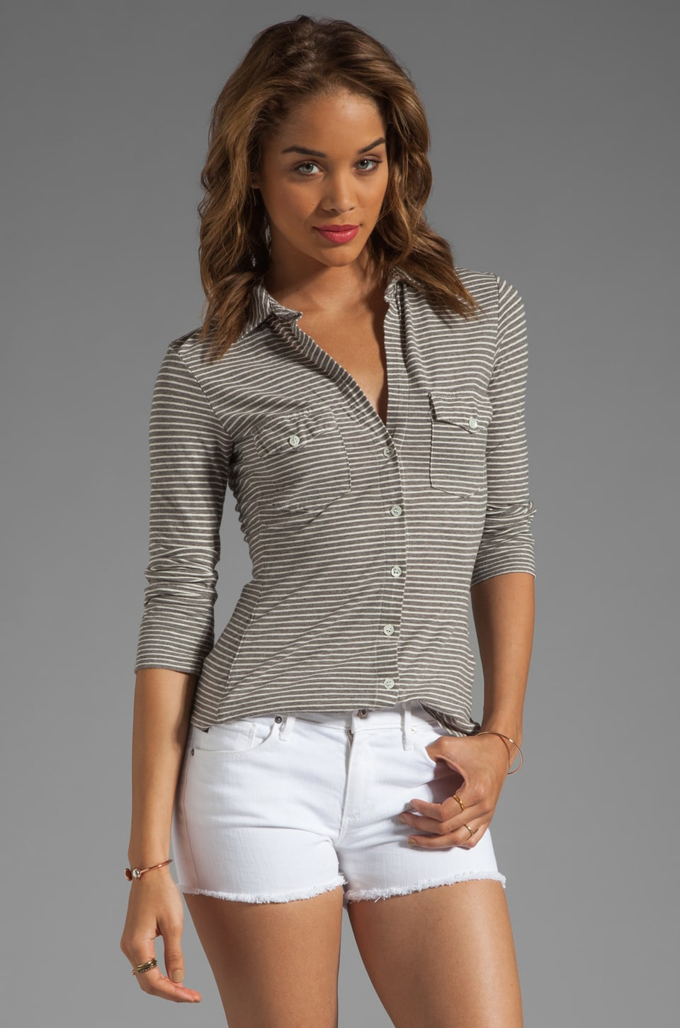 James Perse Side Panel Stripe Jersey Shirt in Heather Grey/White