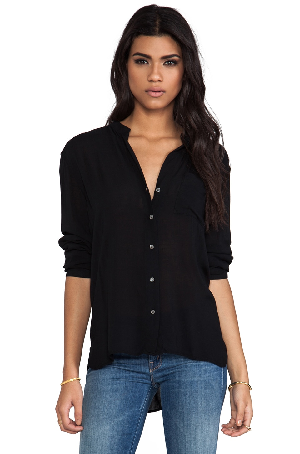 James Perse Collarless Pocket Shirt in Black