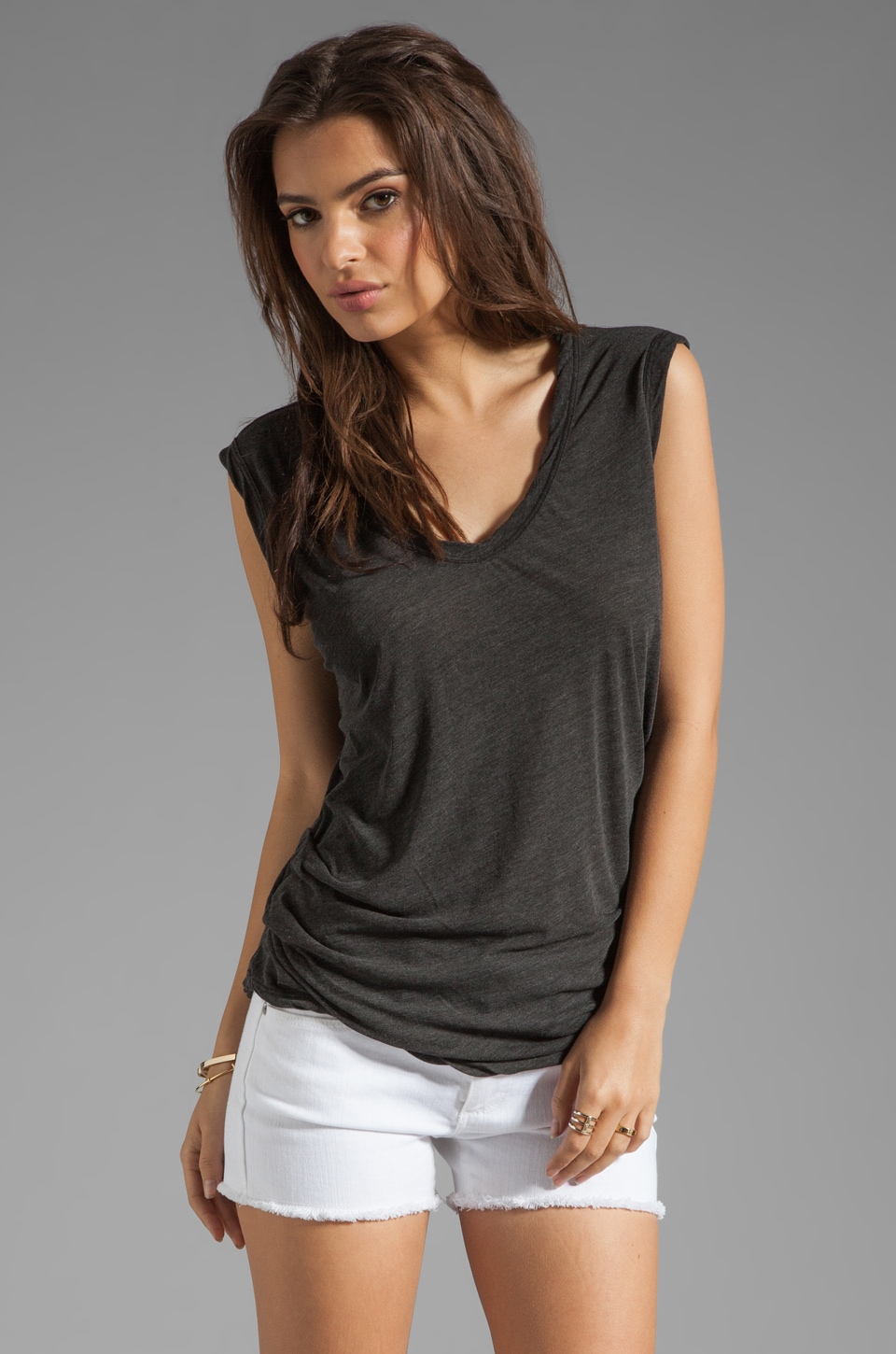 James Perse Asymmetrical Shell Top in Black