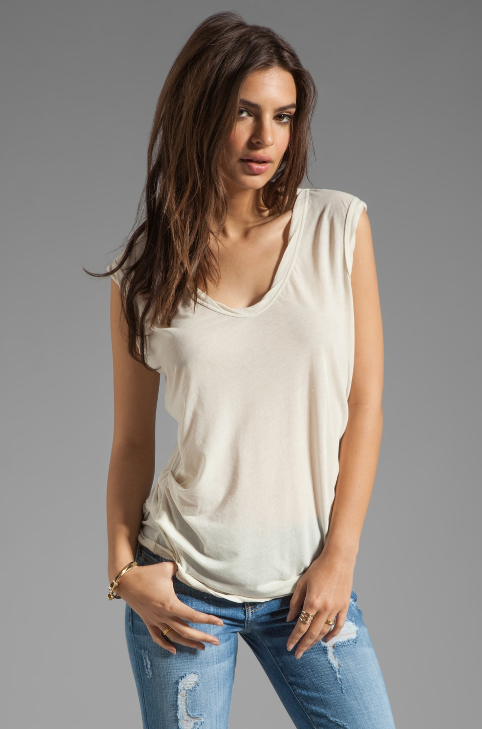 James Perse Asymmetrical Shell Top in Stone
