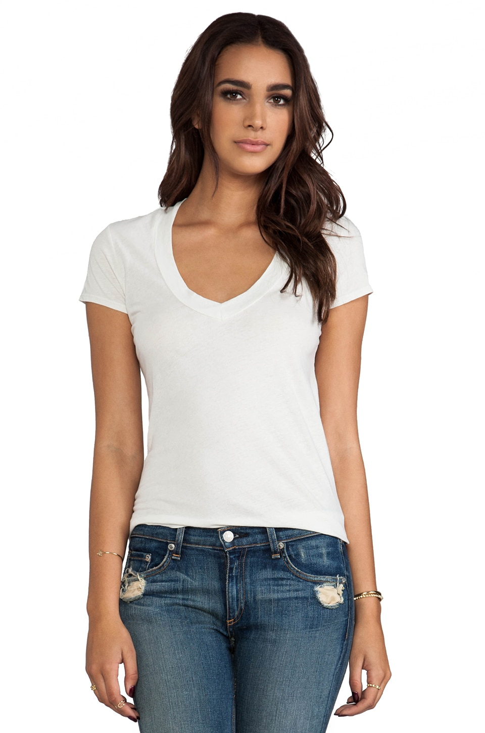 James Perse Short Sleeve Relaxed V Tee in Stone