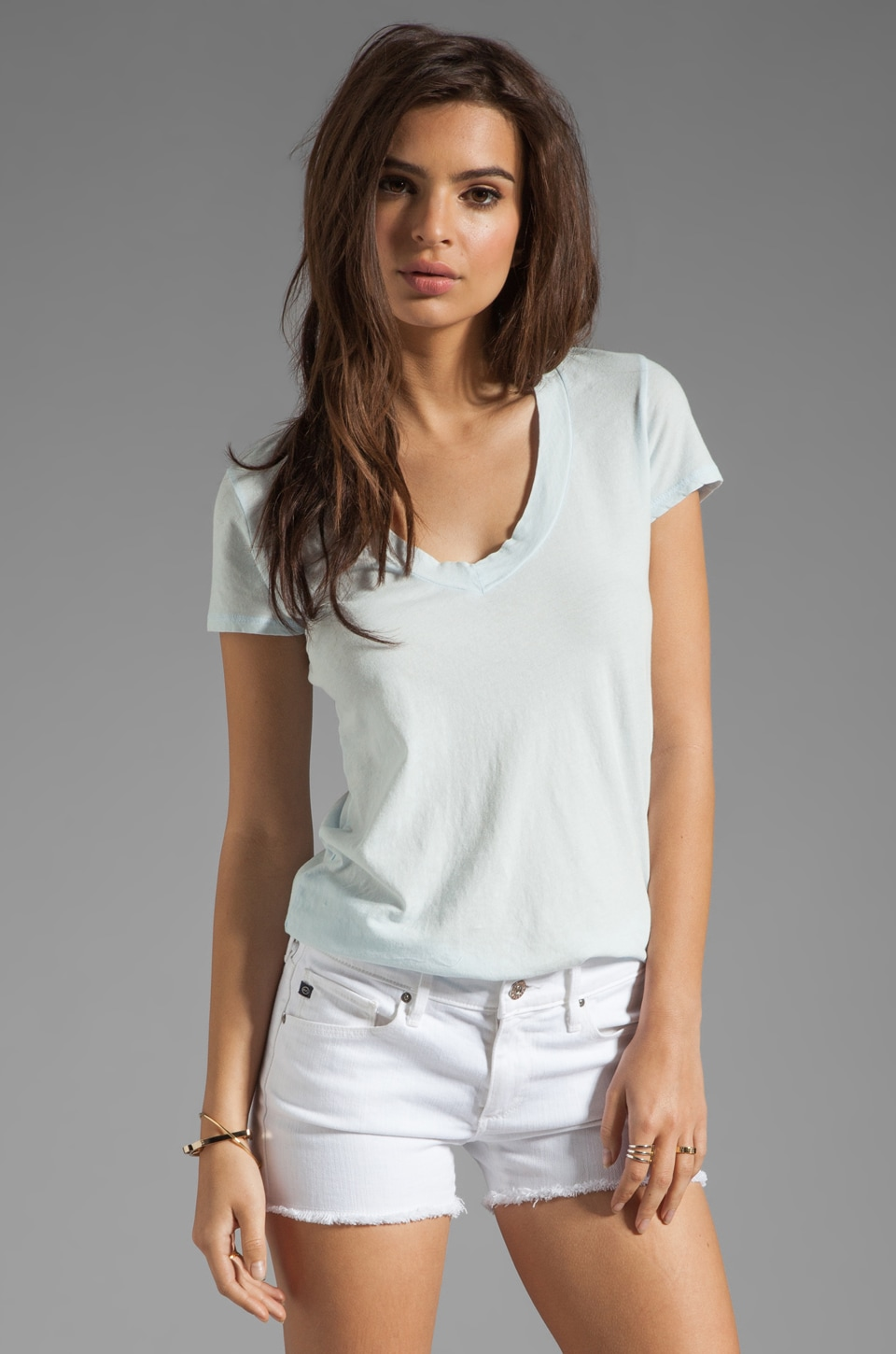 James Perse Short Sleeve Relaxed V Tee in Powder Blue