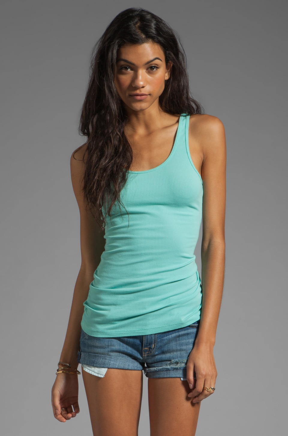 James Perse Daily Tank in Cyan