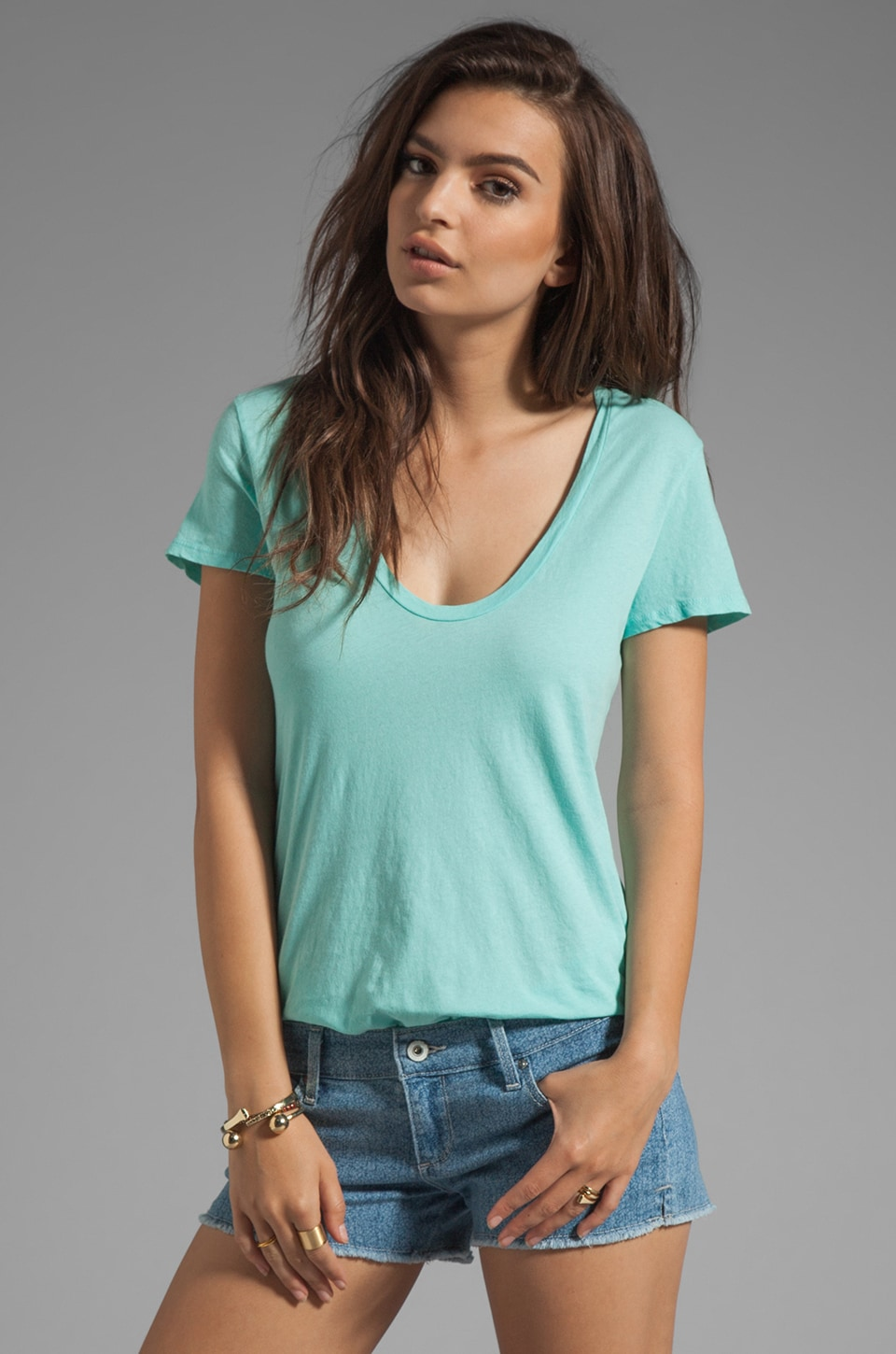 James Perse Relaxed Casual Tee in Cyan