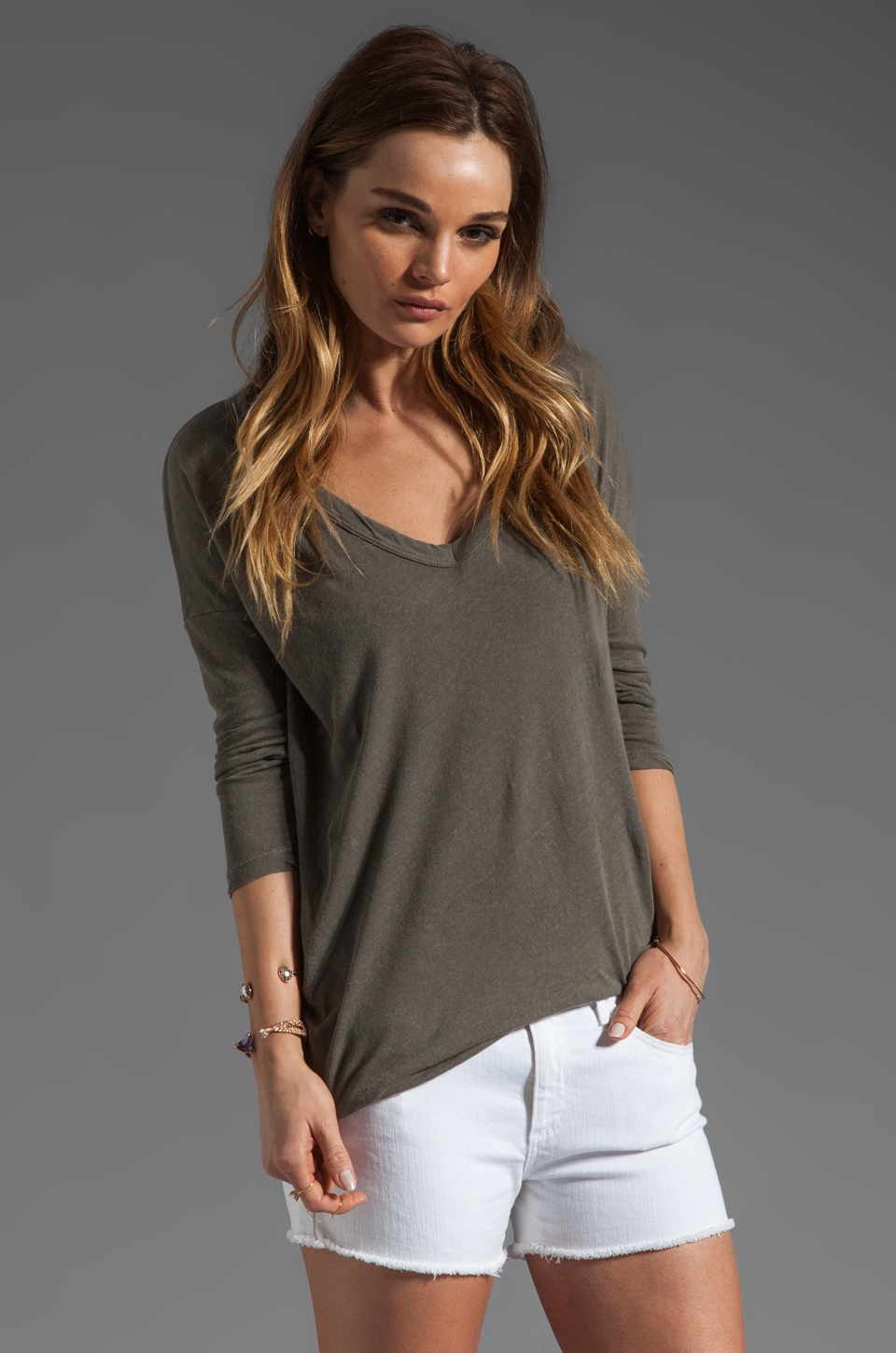 James Perse Relaxed Deep V Top in Burro
