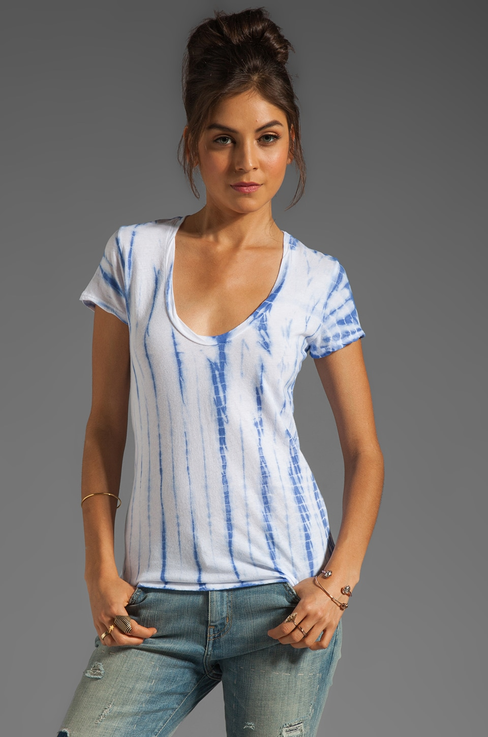 James Perse Ghost Dye Casual Tee in Bluebell