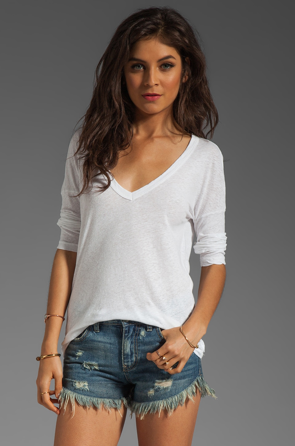 James Perse Relaxed Deep V Top in White