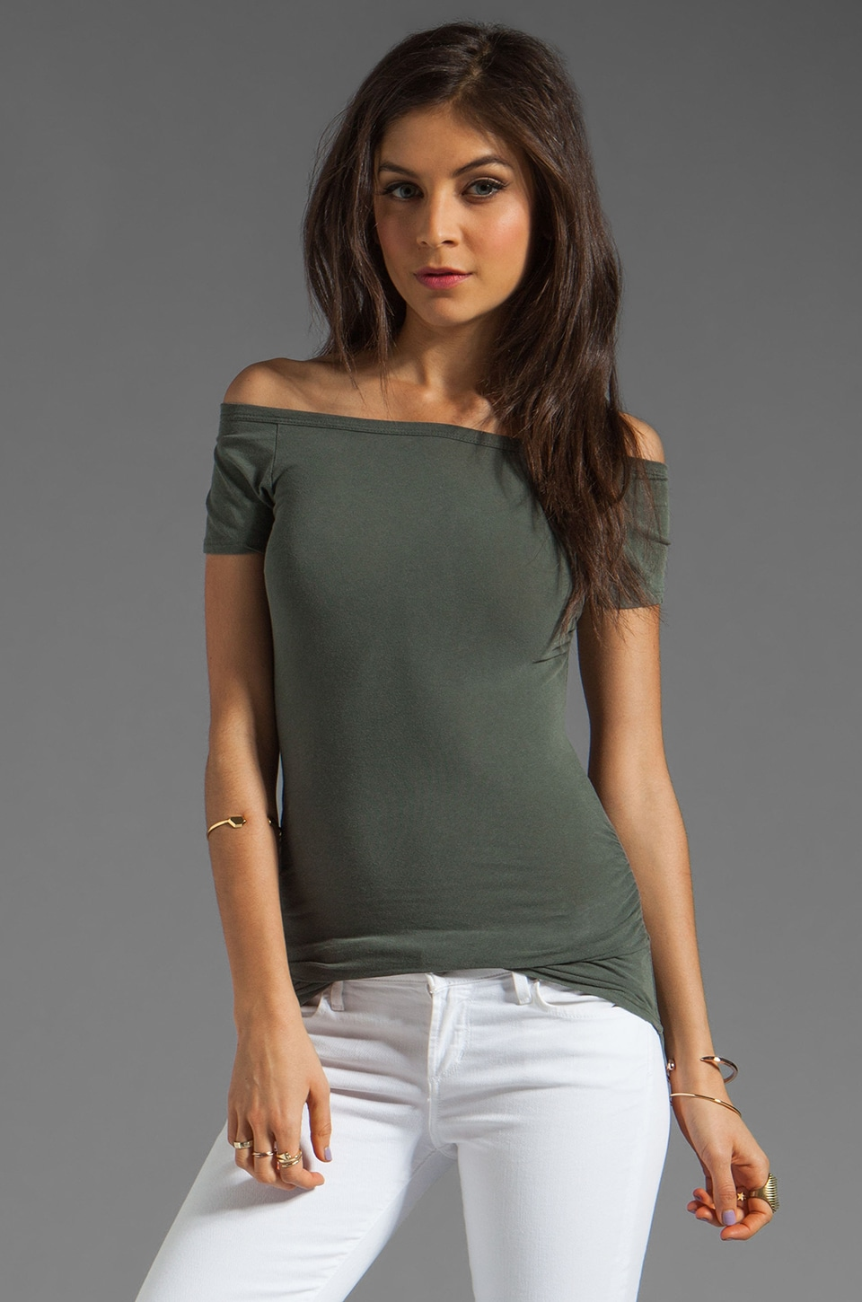 James Perse Bare Shoulder Tee in Alligator