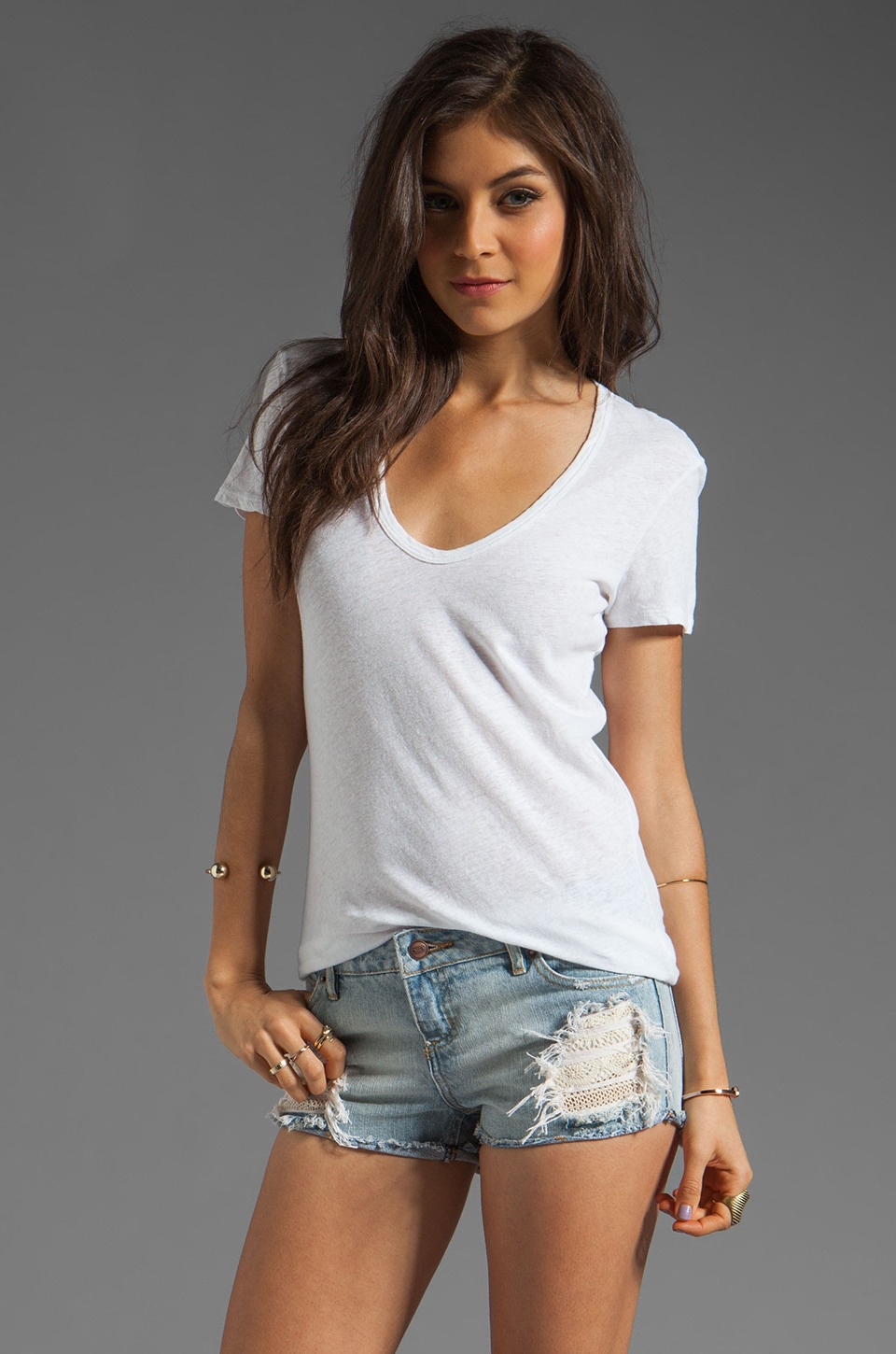 James Perse Deep V Skinny Linen Tee in White