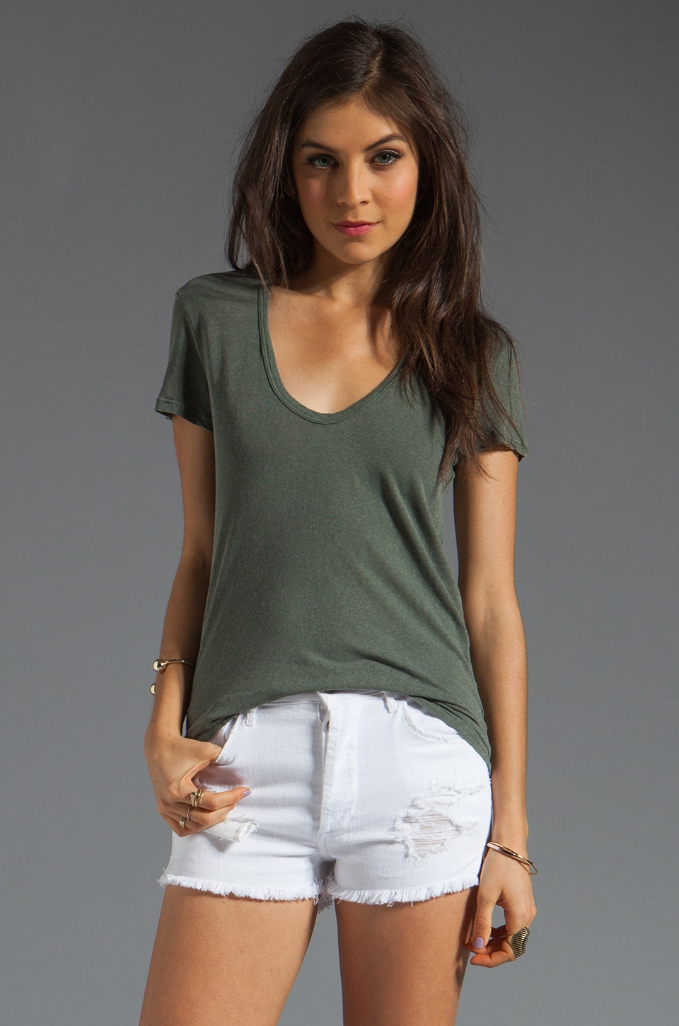 James Perse Deep V Skinny Linen Tee in Alligator