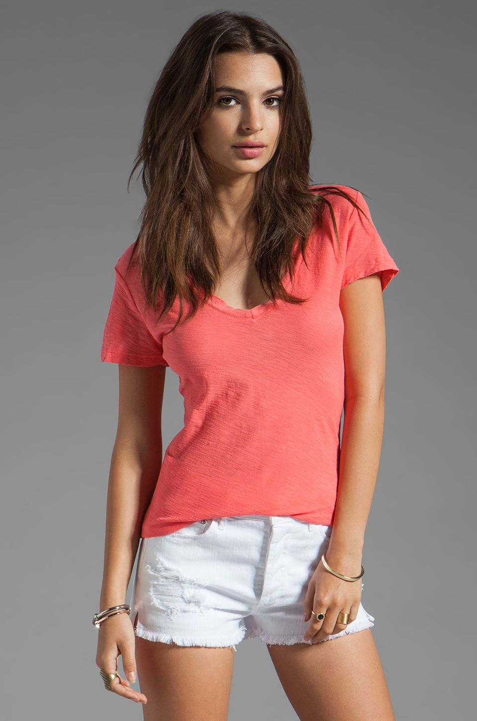James Perse Causal Tee with Reverse Binding in Sherbet